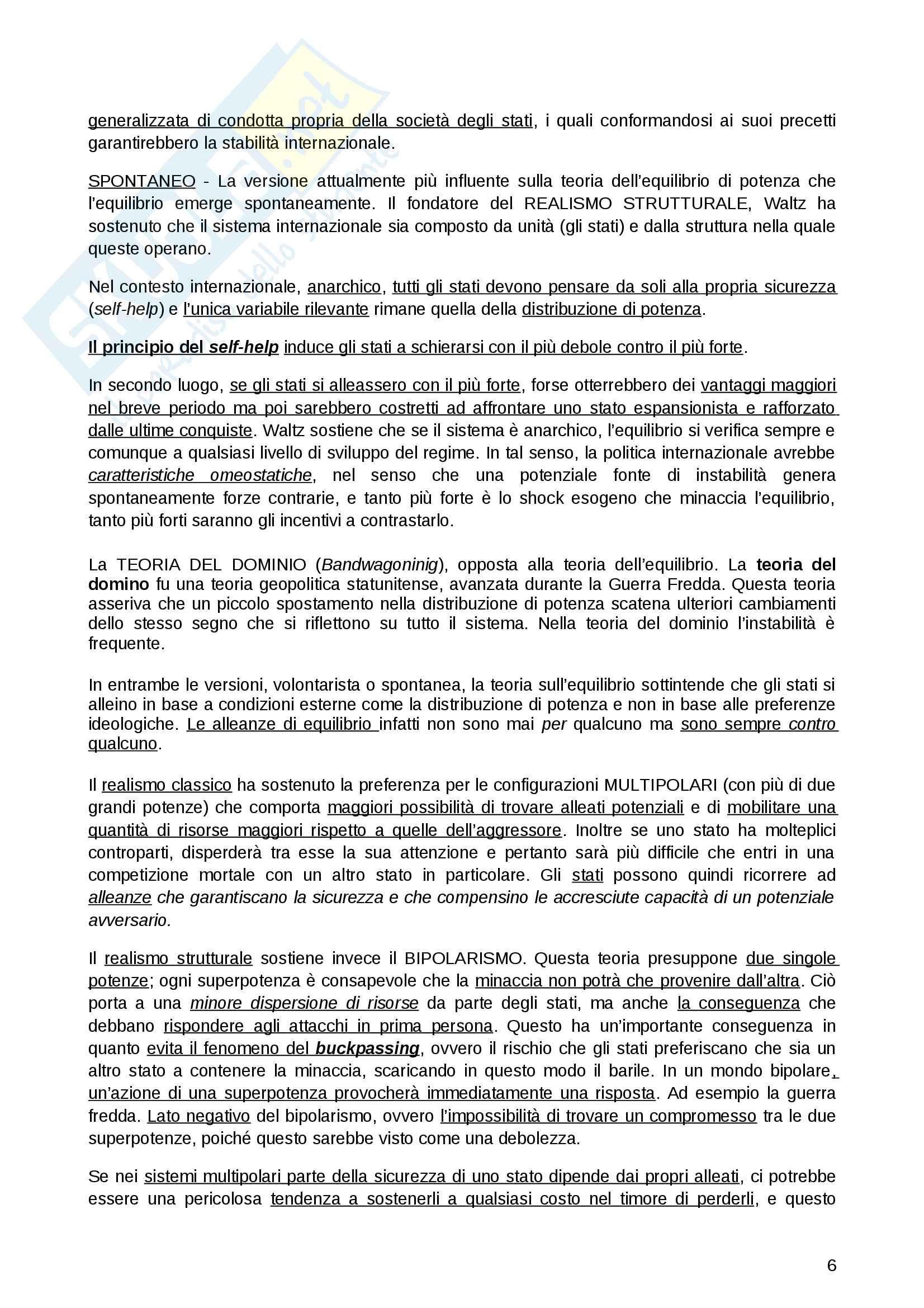 Riassunto esame per la materia Relazioni Internazionali, prof.Parsi, libro consigliato Relazioni internazionali, autori: Andreatta, Clementi, Colombo, Parsi Pag. 6
