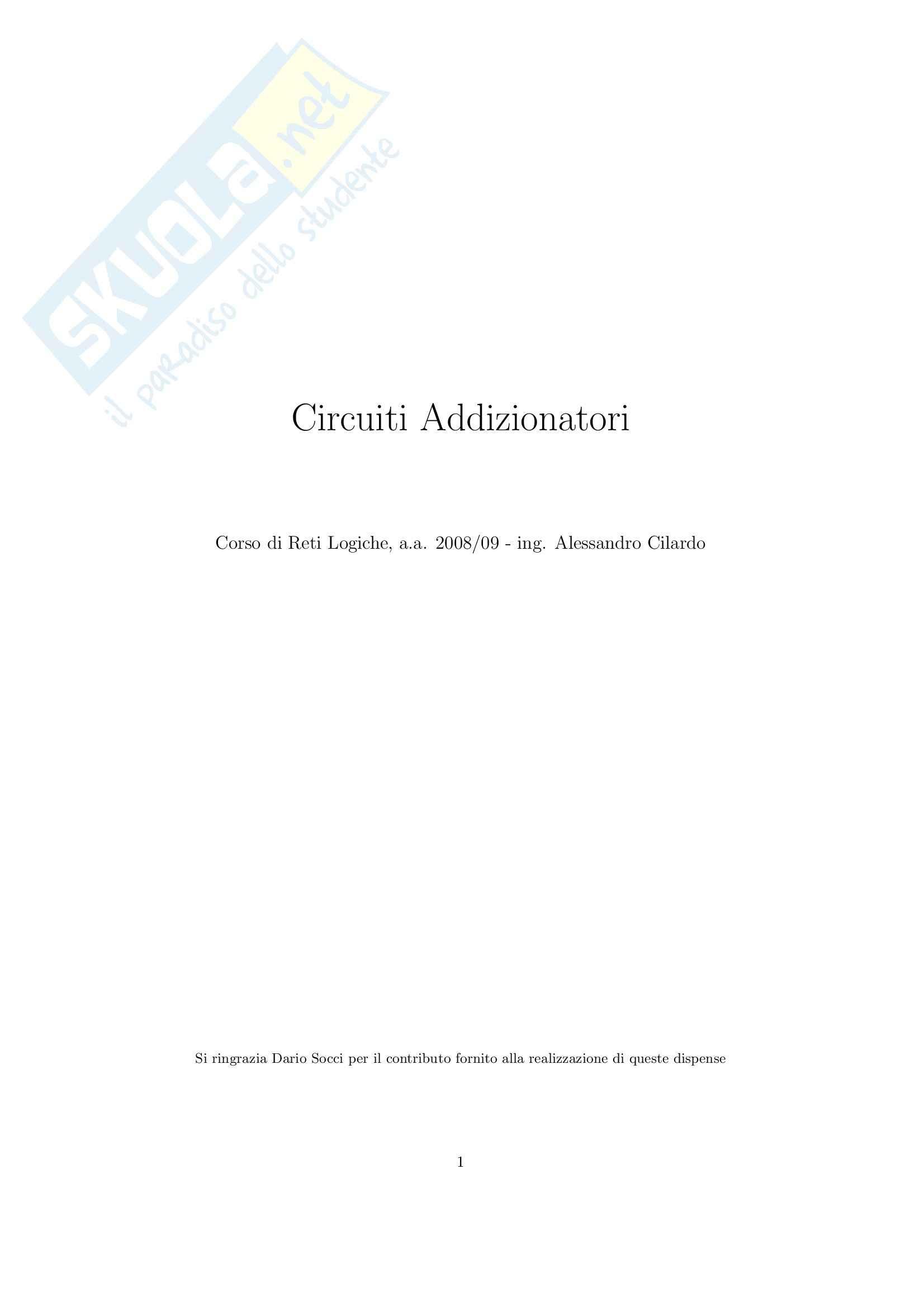 Architetture Sistemi Elaborazione   - Sommatori ASE