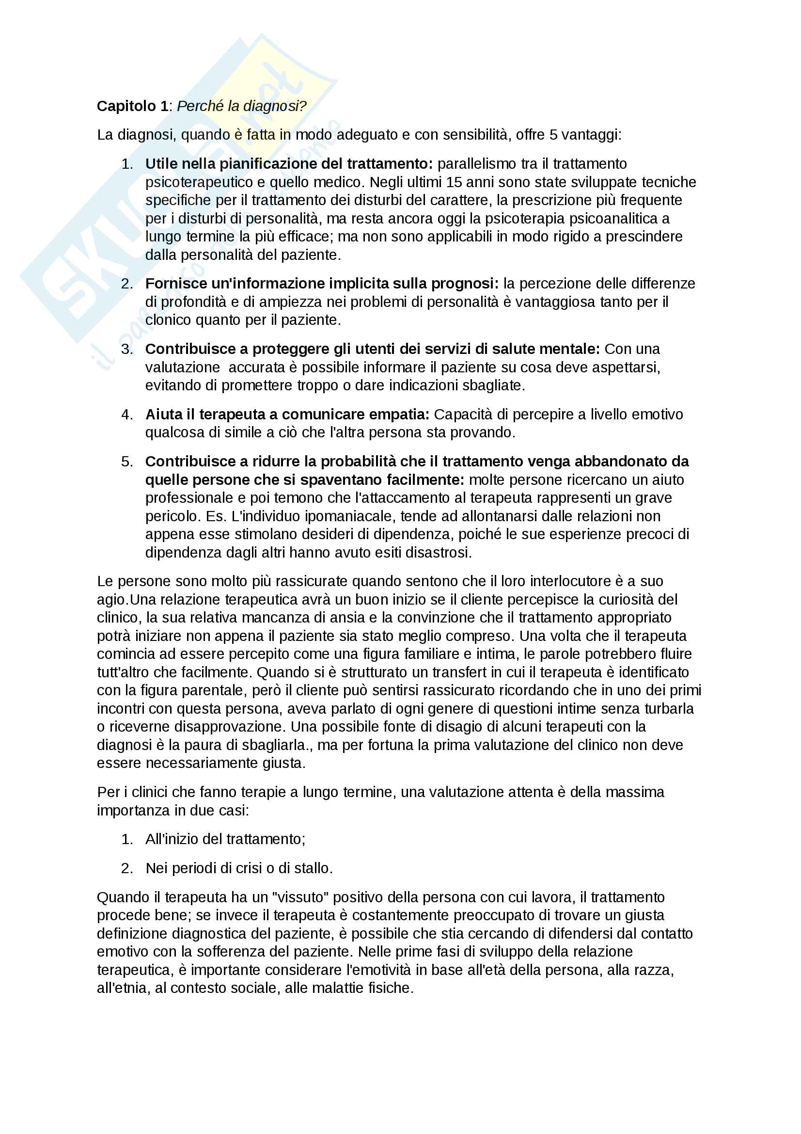 Riassunto esame psicologia dinamica, prof. Caretti, libro consigliato La diagnosi psicoanalitica, Astrolabio