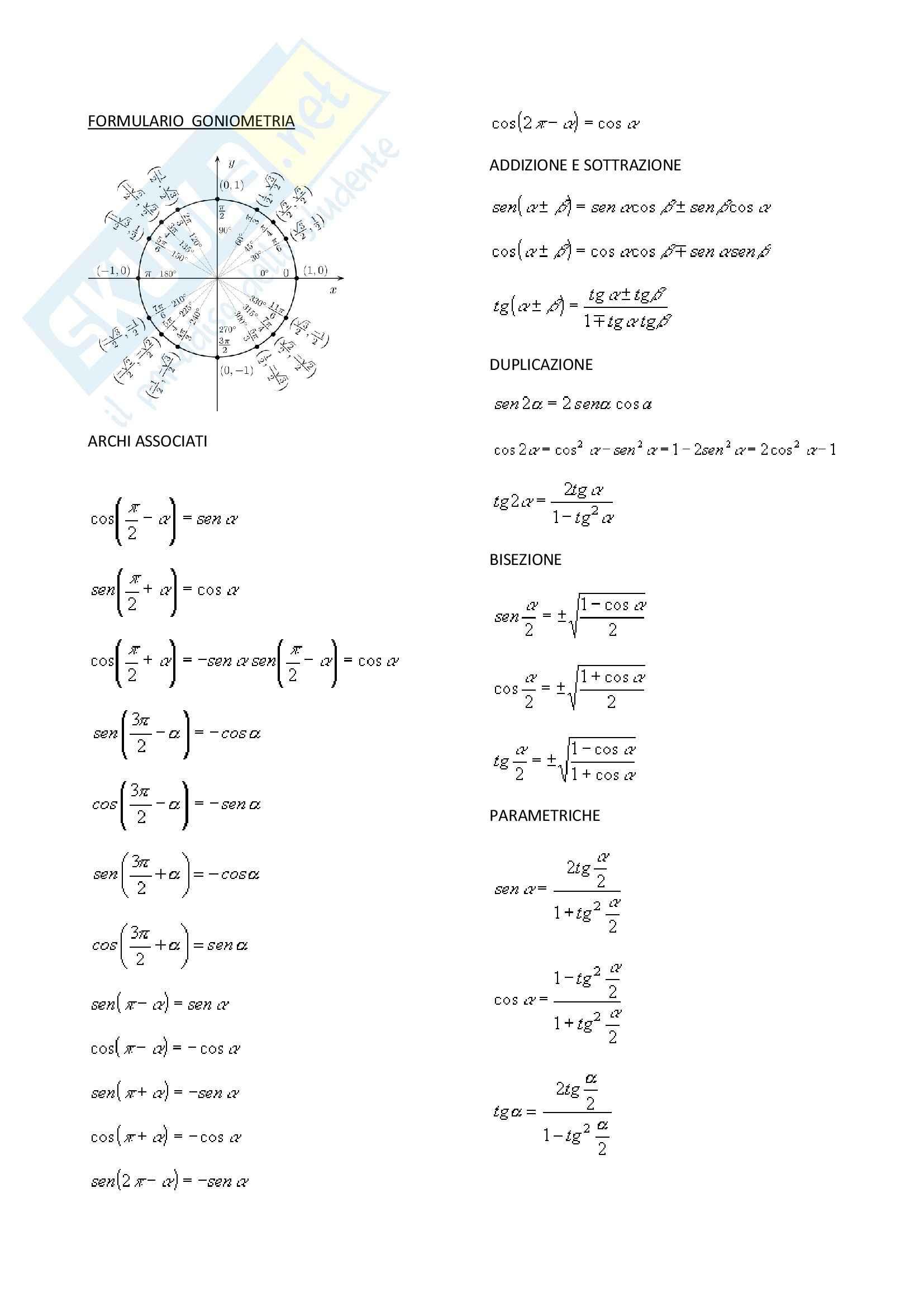 Formulario di goniometria