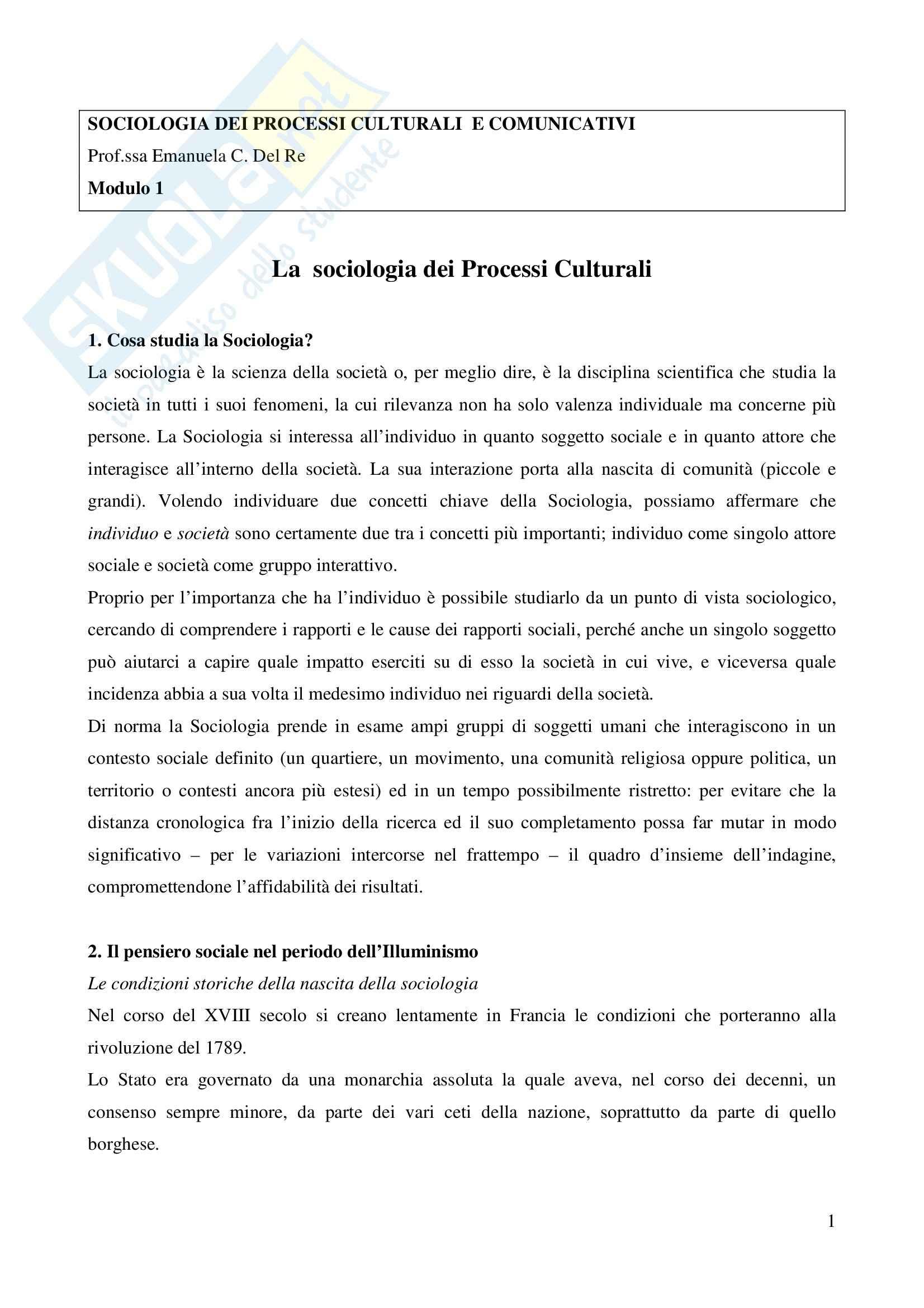 Sociologia dei processi culturali - Introduzione