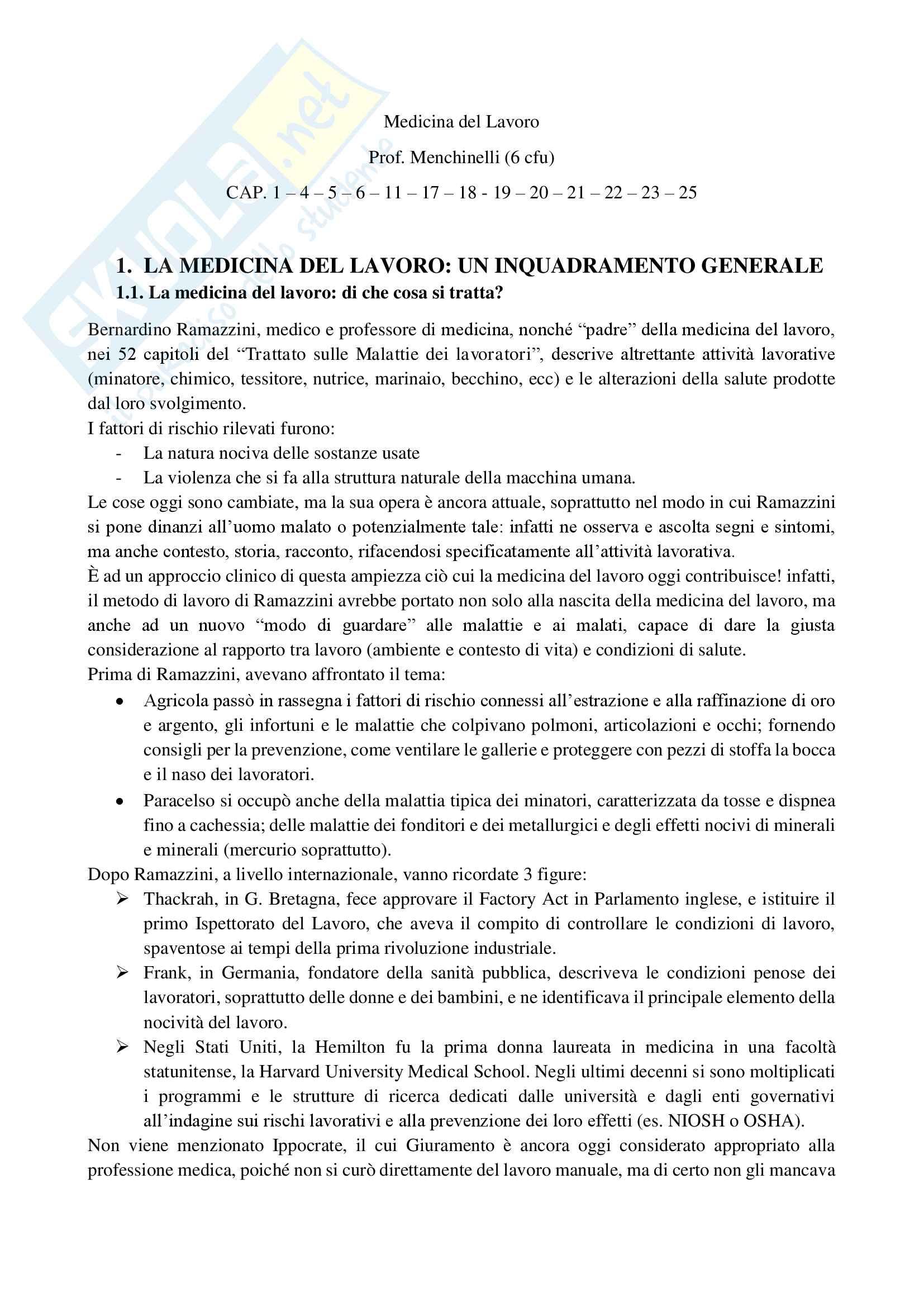 Riassunto esame di Medicina del Lavoro, prof. Menchinelli, libro consigliato Medicina del Lavoro, Bertazzi; capp. da studiare 1-4-5-6-11-17-18-19-20-21-22-23-25