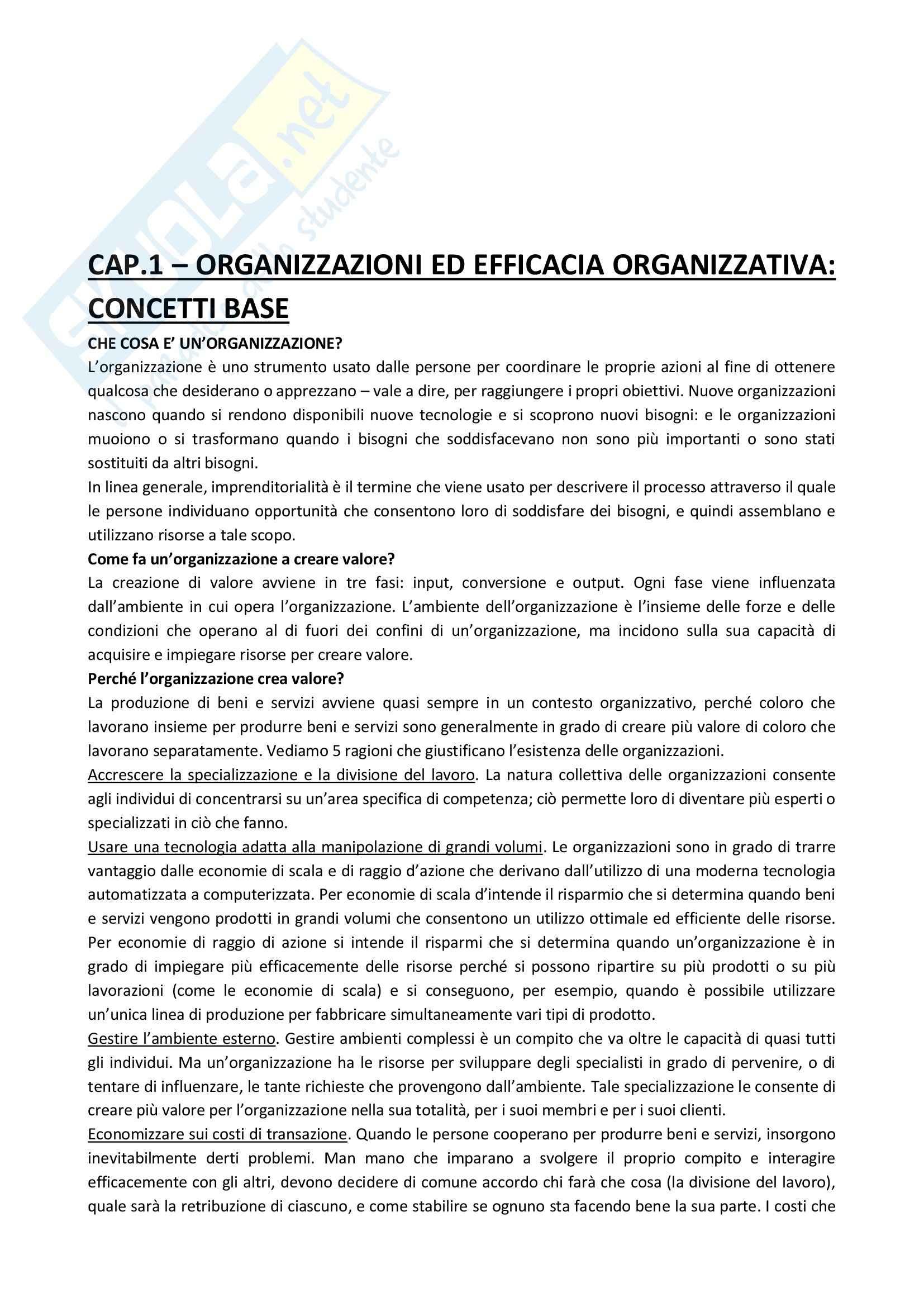 Riassunto esame Organizzazione Aziendale, prof. Soda, libro consigliato Organizzazione: Teoria, Progettazione, Cambiamento, Jones