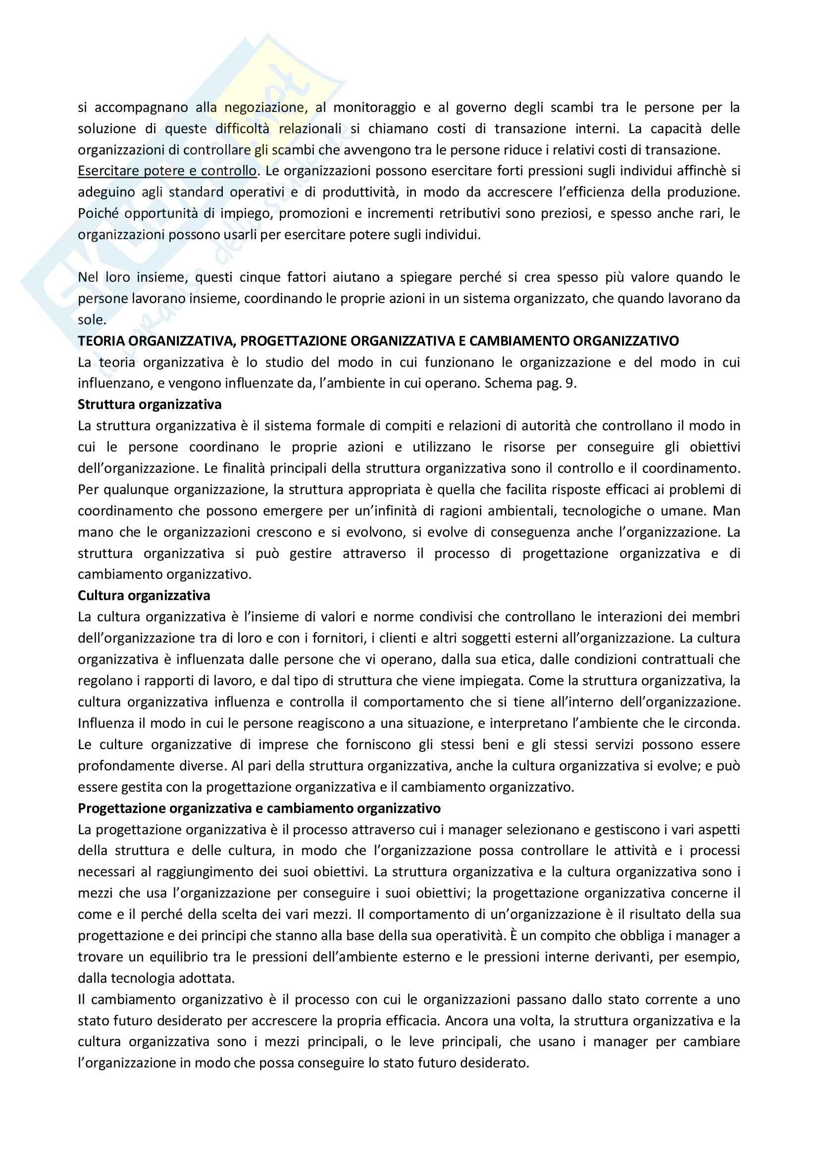 Riassunto esame Organizzazione Aziendale, prof. Soda, libro consigliato Organizzazione: Teoria, Progettazione, Cambiamento, Jones Pag. 2