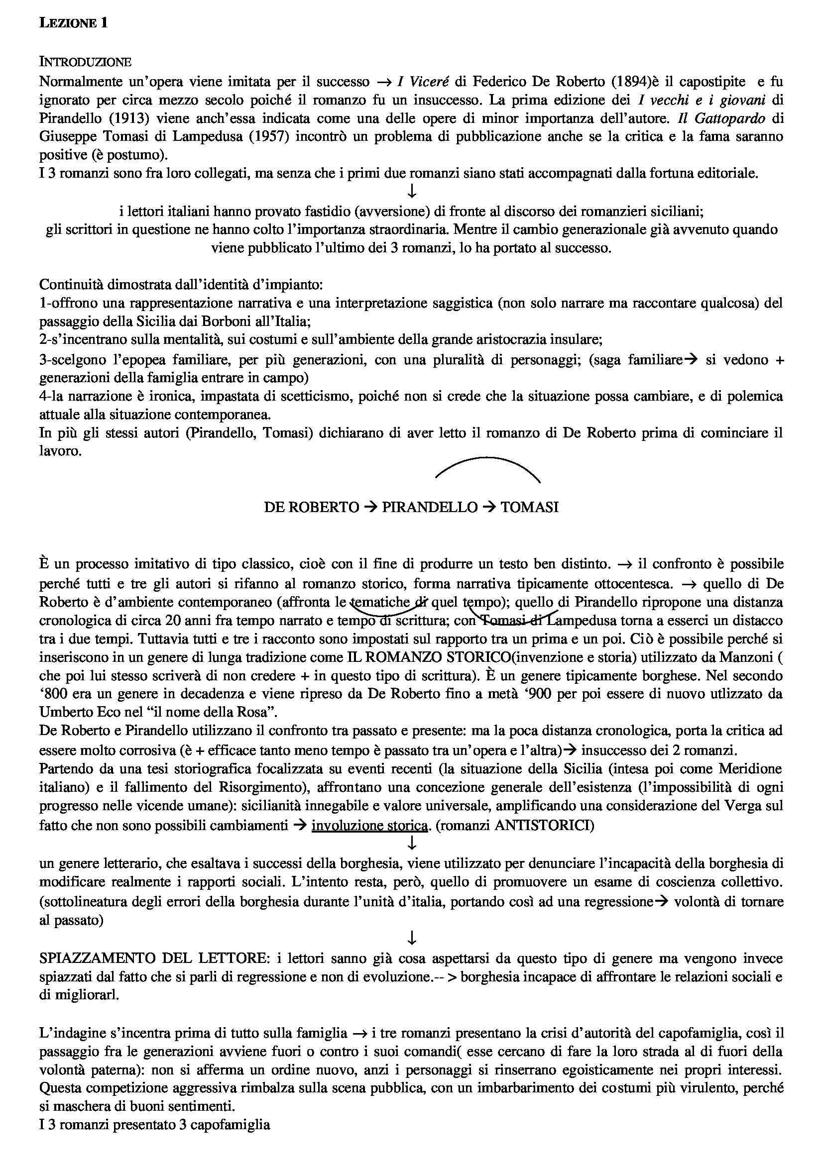 Letteratura italiana - De Roberto, Pirandello e Tommasi da Lampedusa