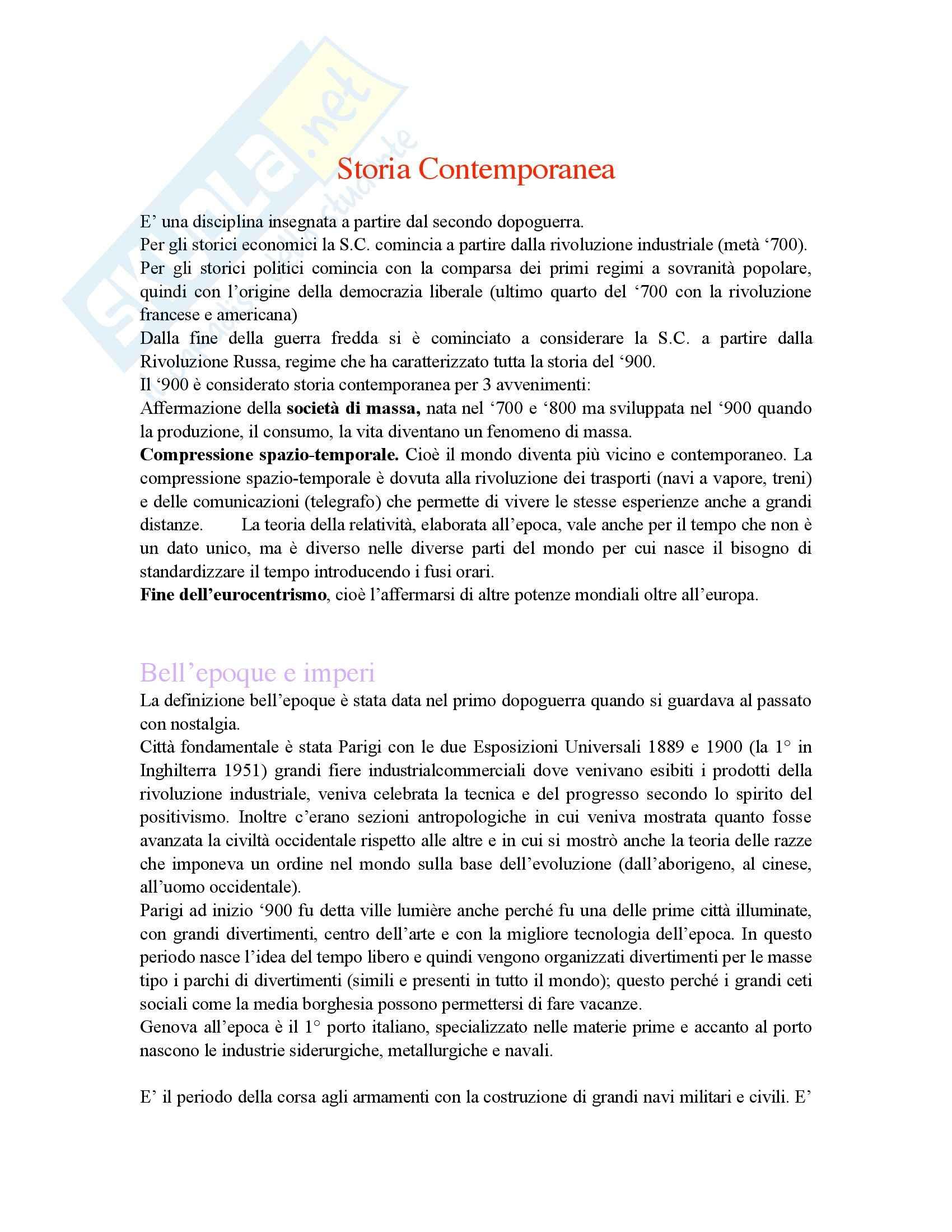Storia contemporanea - il Novecento - Appunti