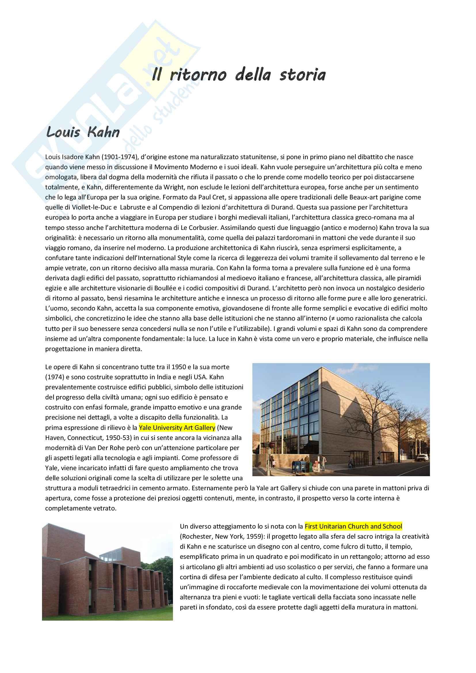 Il ritorno della storia: Louis Kahn, Robert Venturi, Aldo Rossi, Mario Botta e il Postmodern