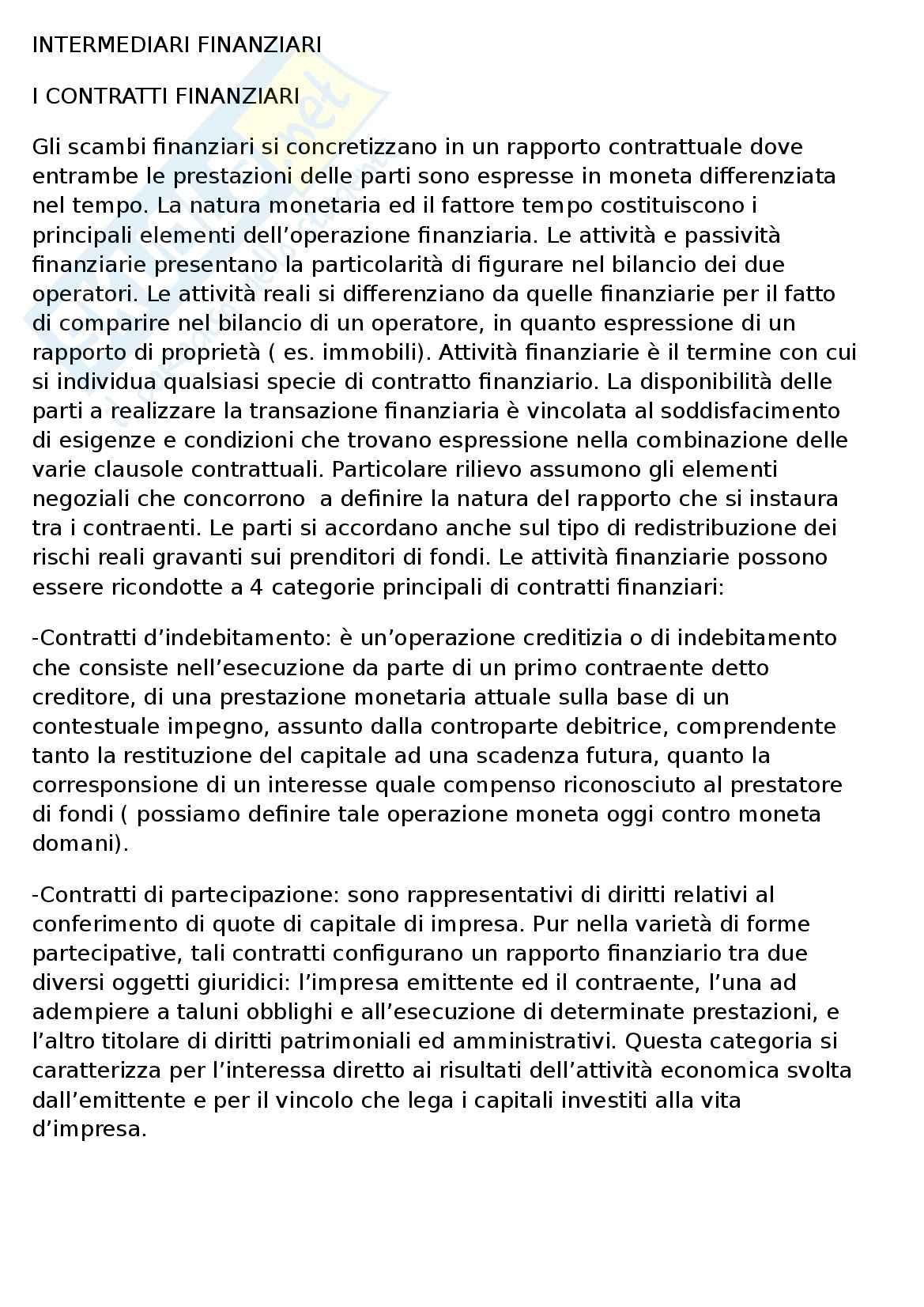 appunto S. Cosma Intermediari finanziari