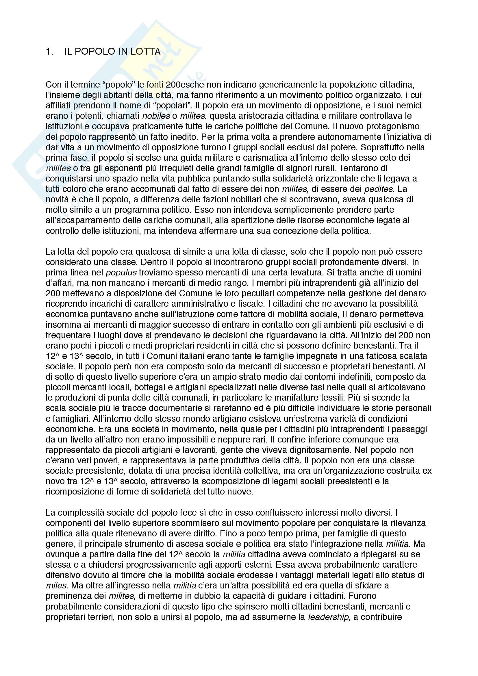 Riassunto esame Storia Medievale, prof. Albini, libro consigliato Potere al Popolo, Poloni