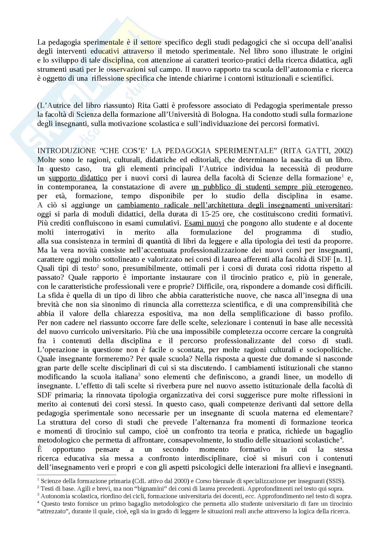 Riassunto esame Pedagogia sperimentale, prof. Colazzo, libro consigliato Che cos'è la pedagogia sperimentale, Gatti