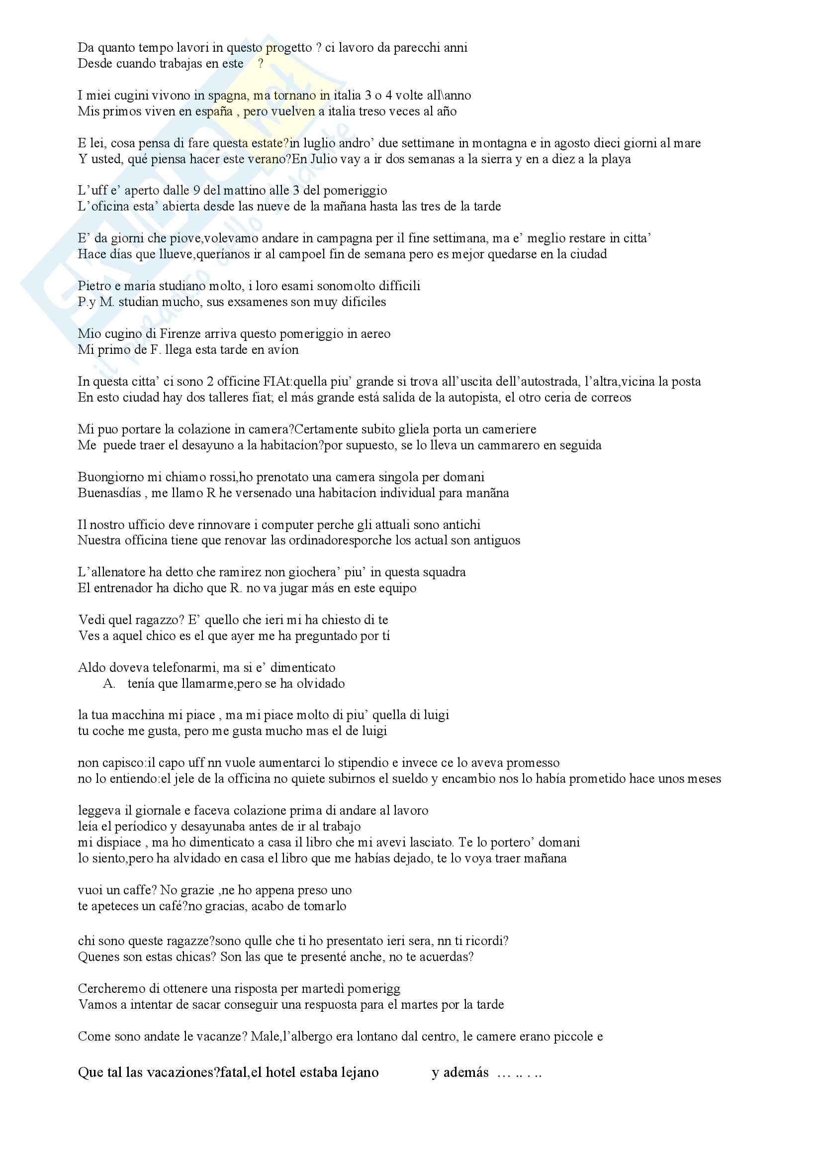 Spagnolo - compendio di frasi
