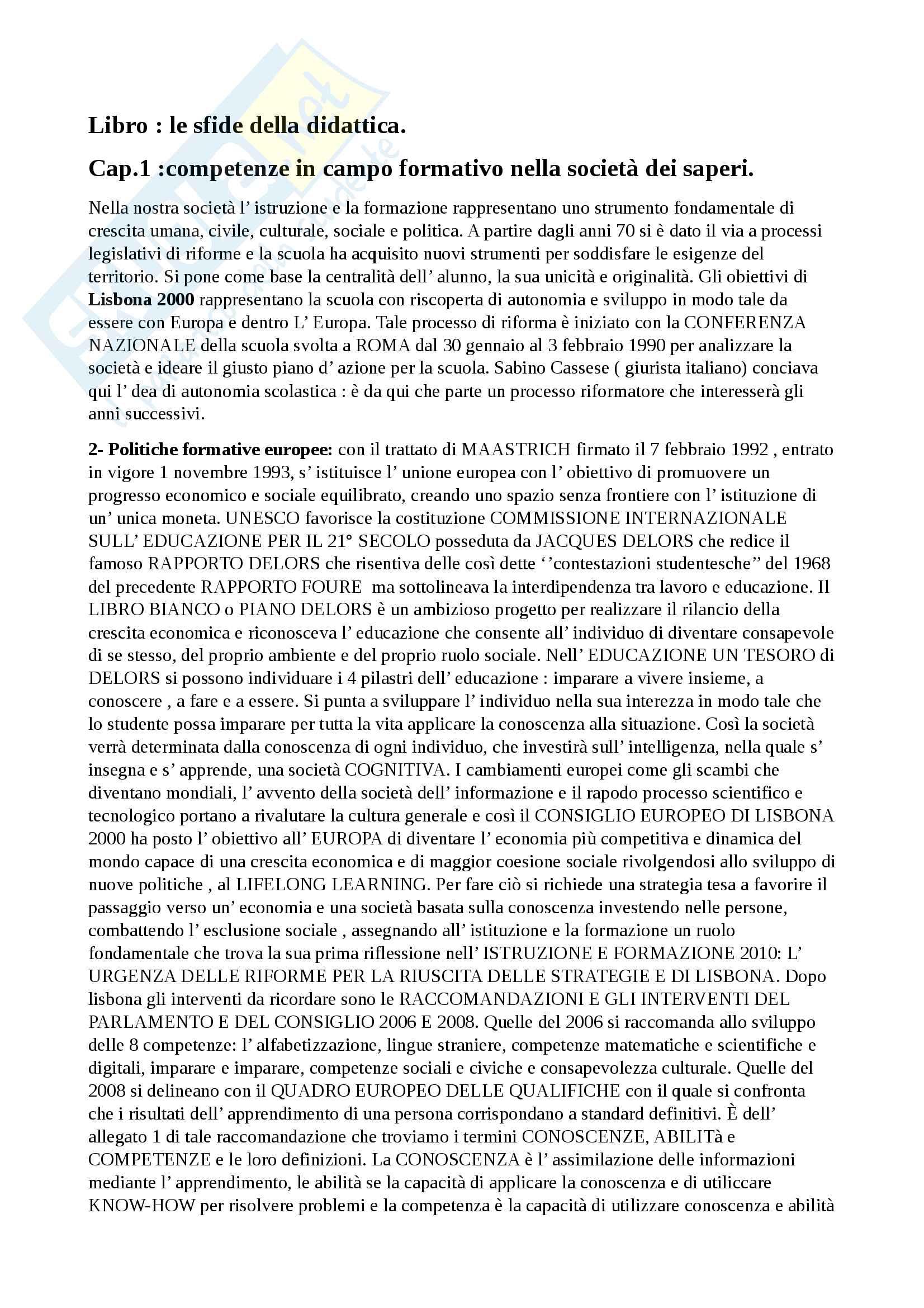 Riassunto esame didattica generale, docente Milito, libro consigliato Le sfide della didattica e progettare e valutare, Milito