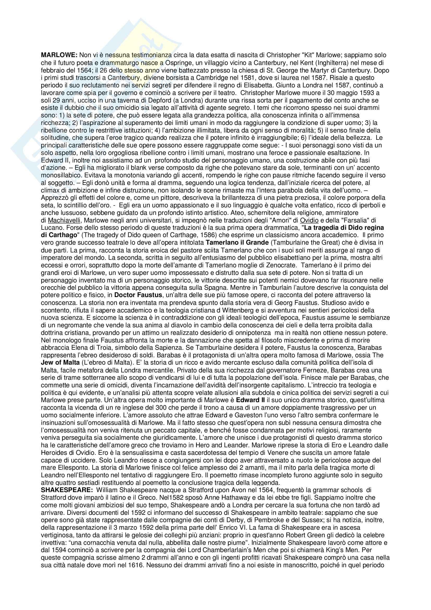 Riassunto esame Letteratura Inglese, prof. Deidda, libro consigliato Storia della Letteratura Inglese, Bertinetti