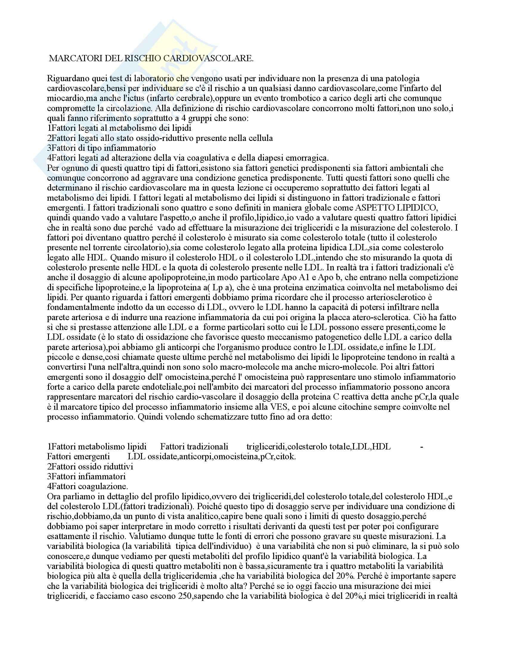 Marker del rischio cardiovascolare: Appunti di Biochimica