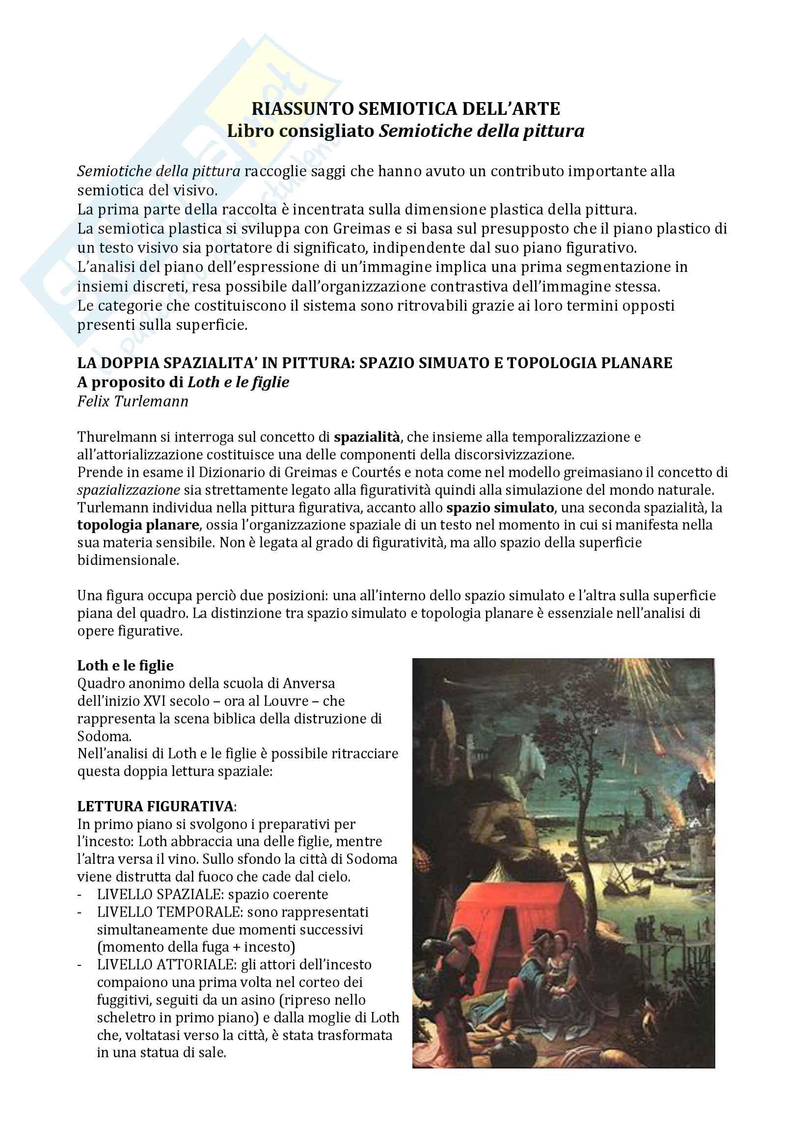 Riassunto esame semiotica dell'arte, prof.Corrain, libro consigliato Semiotiche della pittura