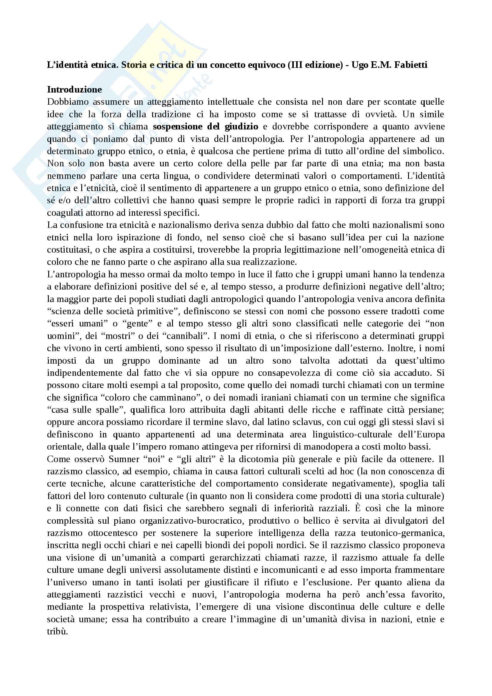 Riassunto esame cultura e potere, prof. Favole, libro consigliato L'identità etnica (III edizione), Fabietti