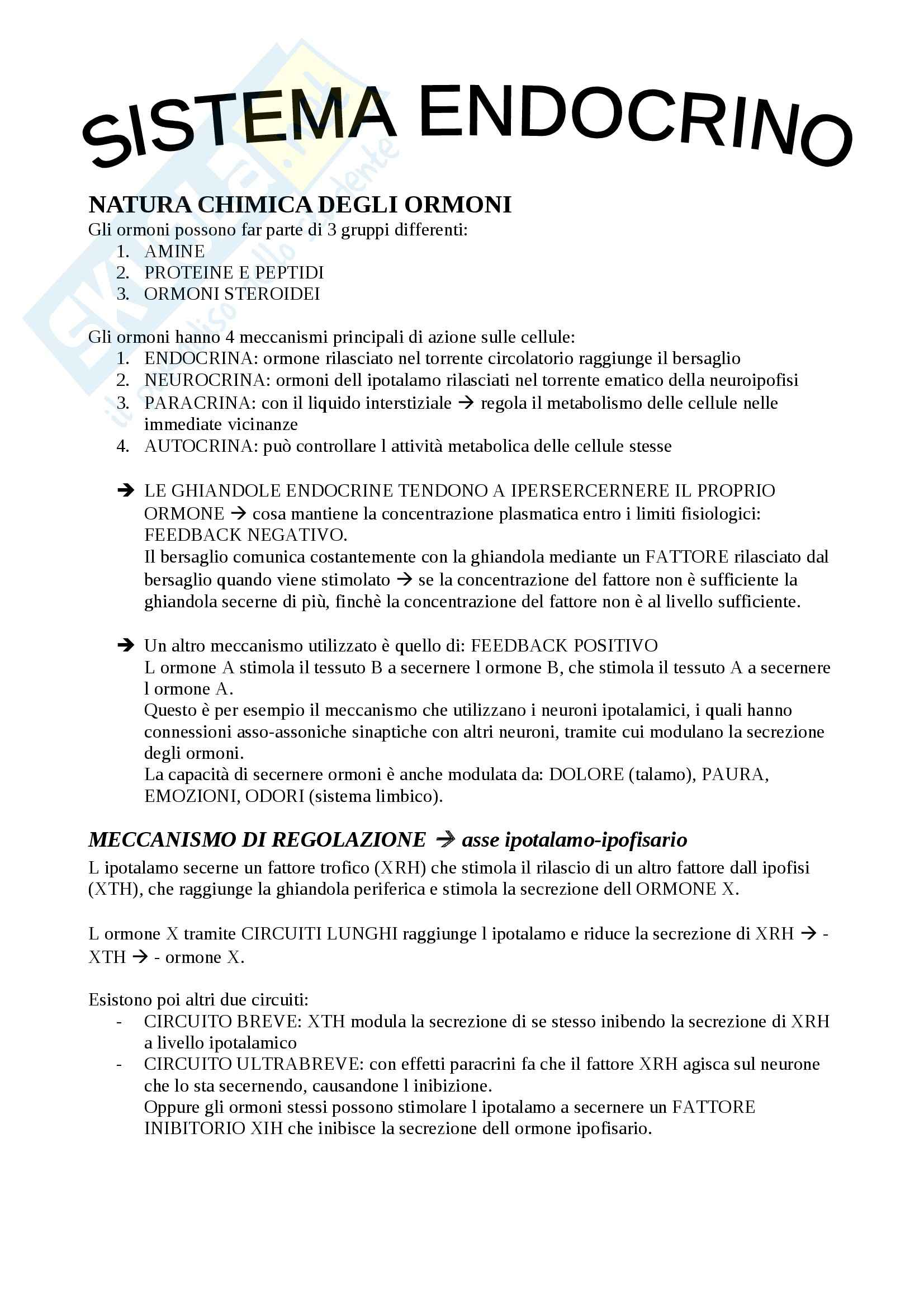 Sistema endocrino, Fisiologia degli apparati