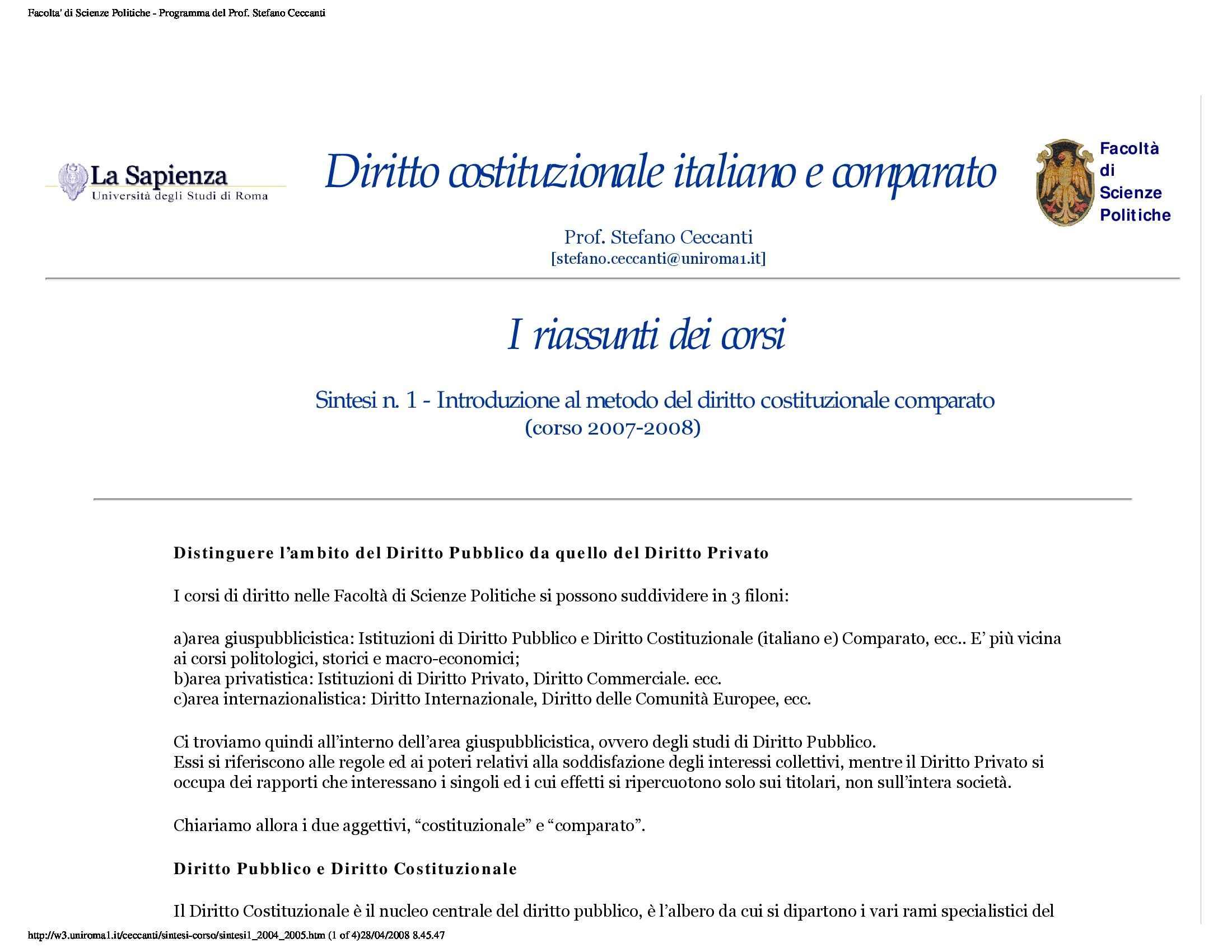 dispensa S. Ceccanti Diritto costituzionale italiano e comparato