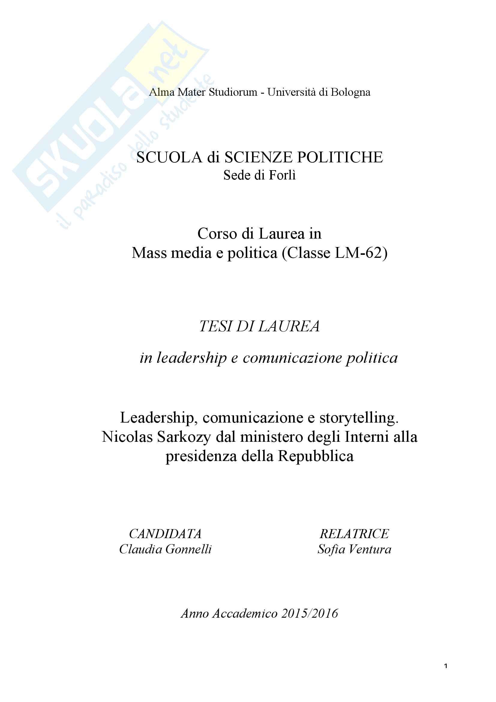 Leadership Comunicazione e Storytelling. Nicolas Sarkozy dal ministero degli Interni alla presidenza della Repubblica