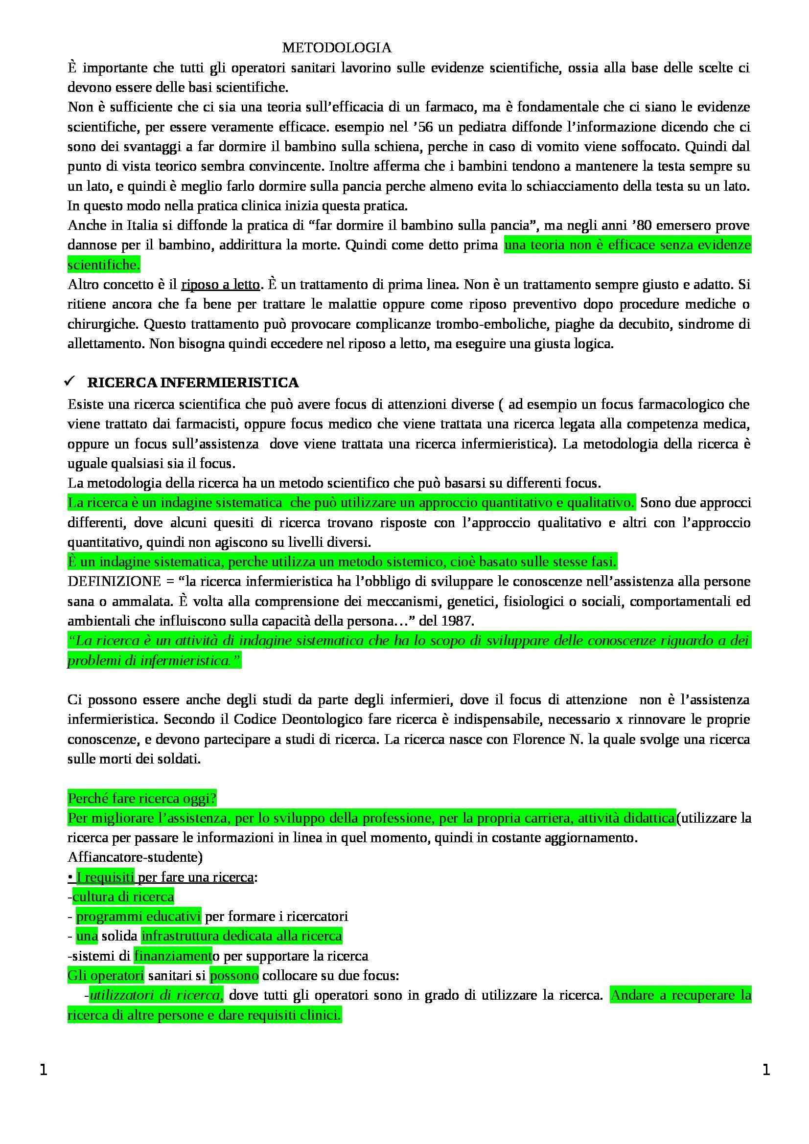 Riassunto esame Metodologia della ricerca di base, prof. Dal Molin