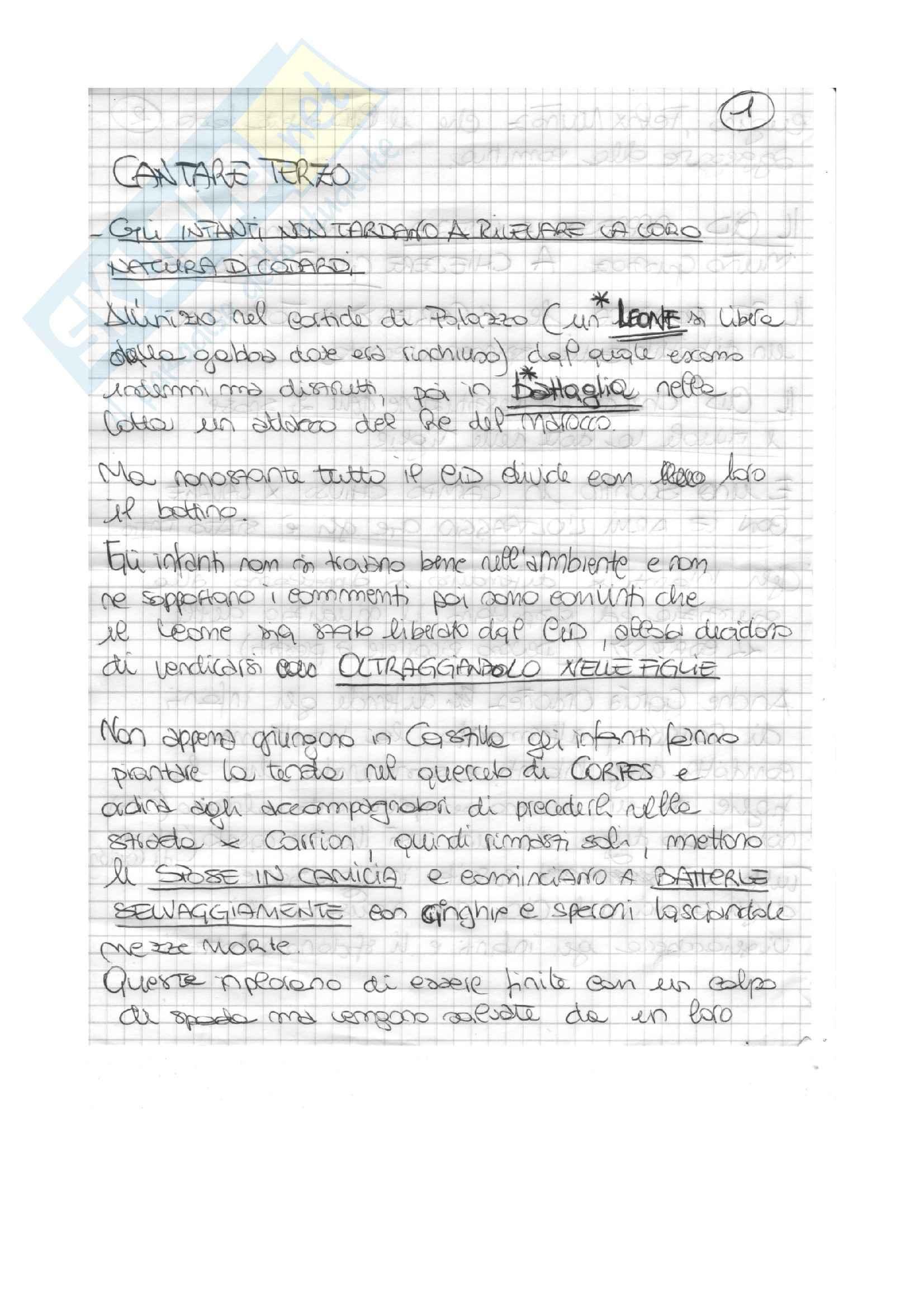Lingua e Letteratura Spagnola - El Cantar Del Mio Cid PARTE2