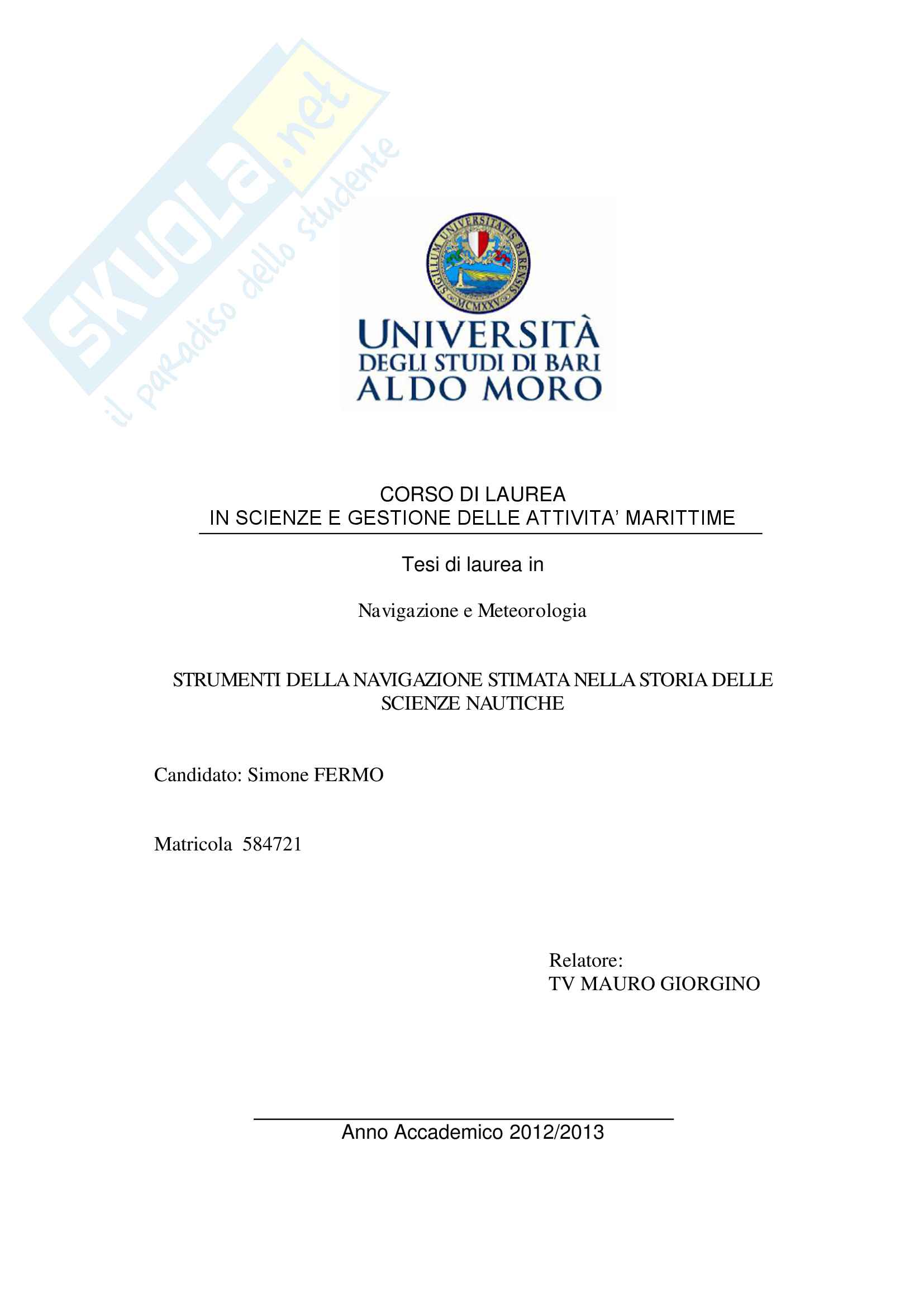 Strumenti della navigazione stimata nella storia delle scienze nautiche Pag. 1