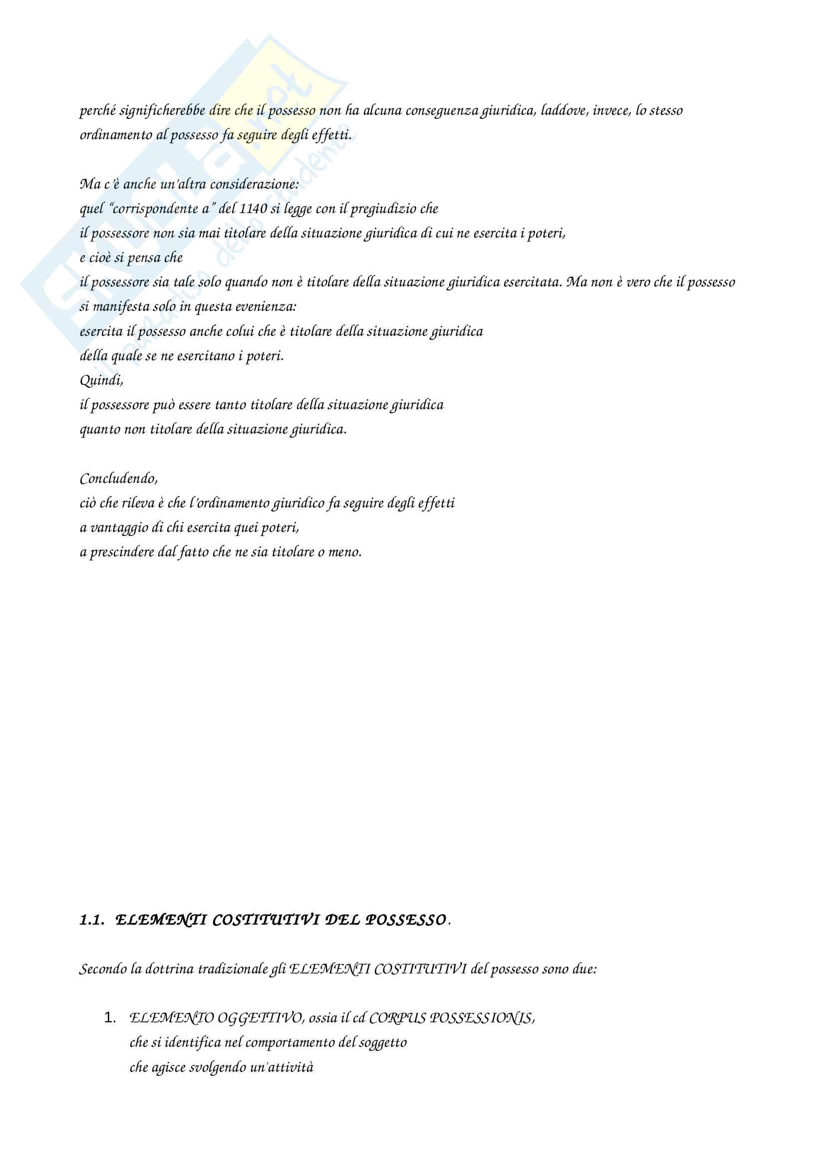 Riassunto esame di diritto privato, prof Caterini, libro consigliato Manuale di diritto civile di Perlingeri (Parte terza C., situazioni possessorie) Pag. 2