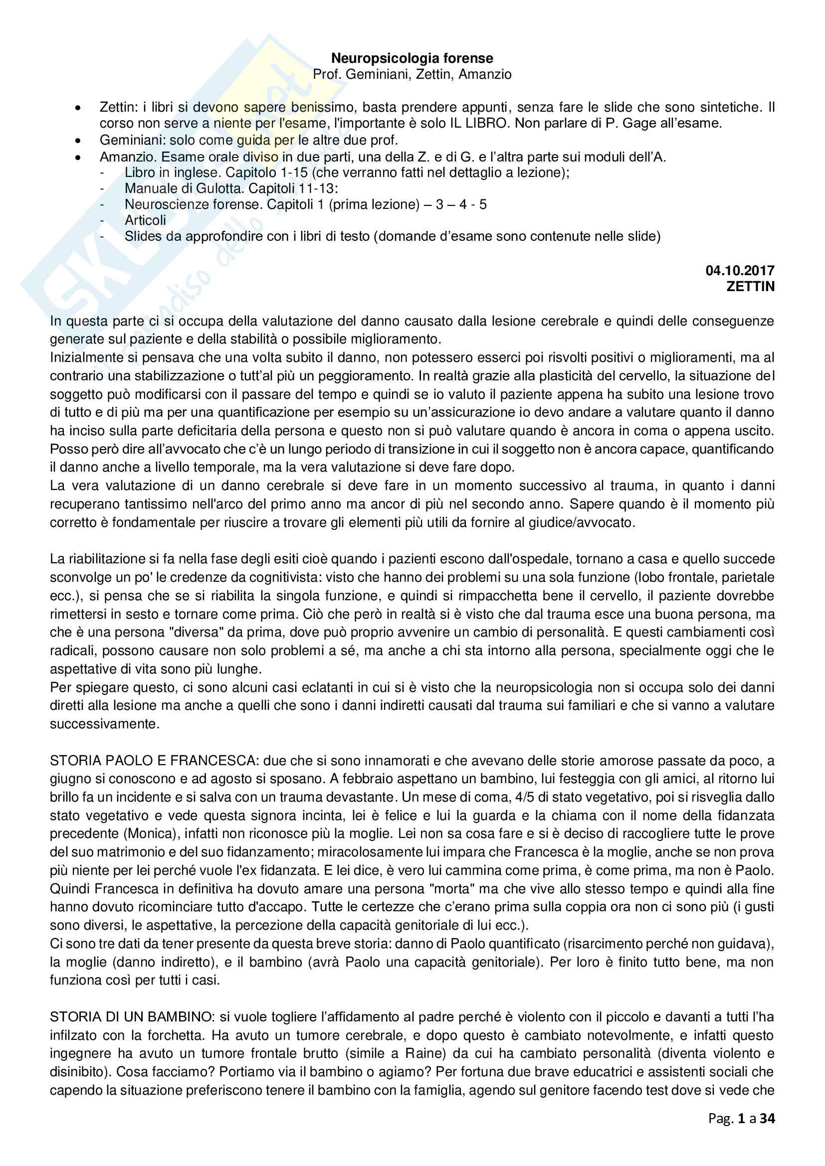 Neuropsicologia, prof Zettin appunti basati su slide e libro