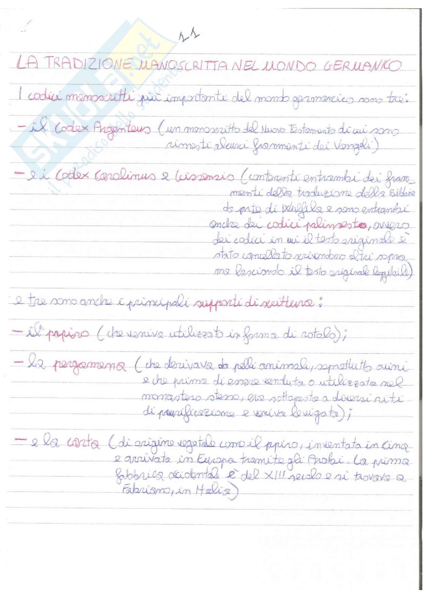 Appunti del corso di filologia germanica, modulo letterario