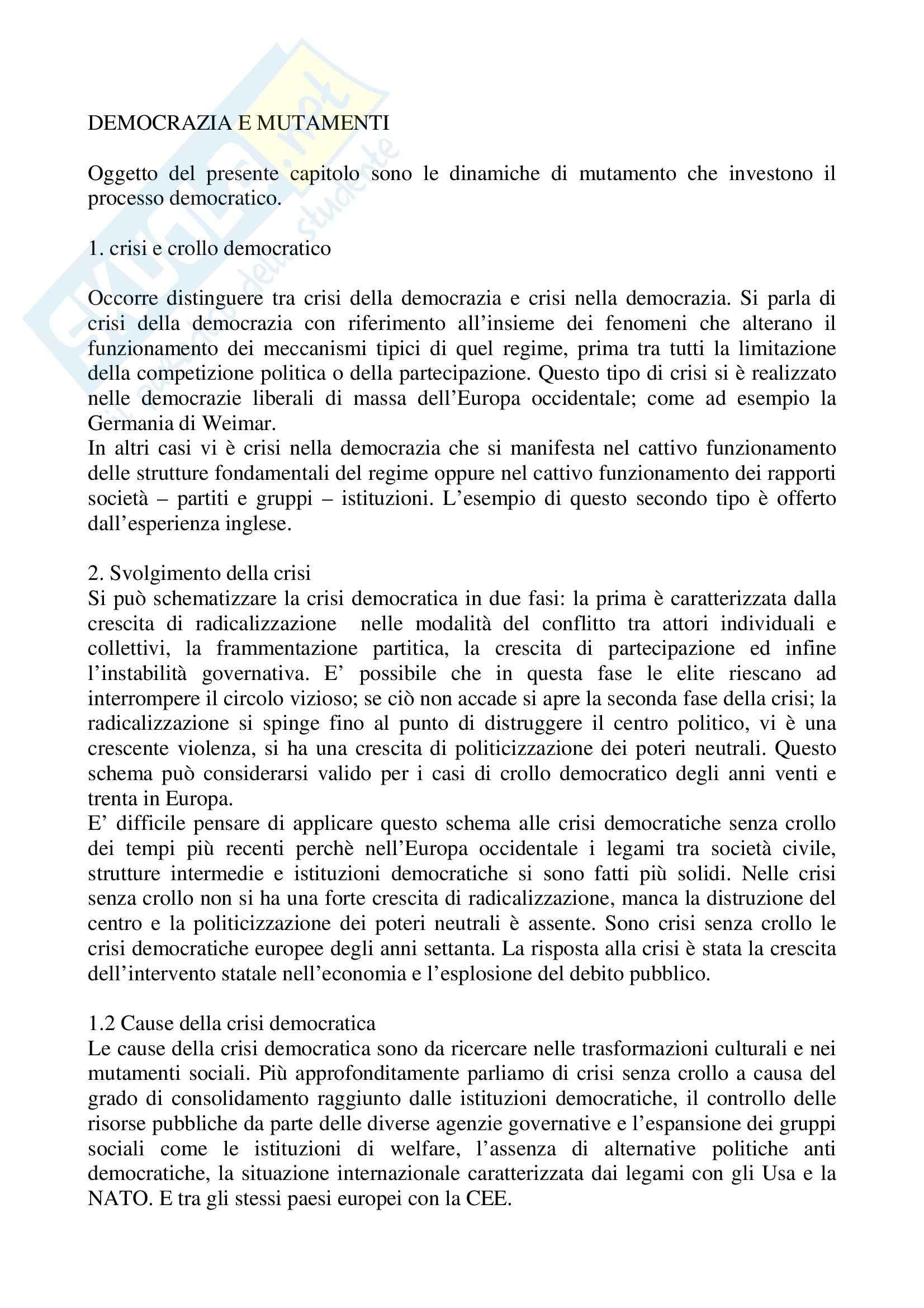 Riassunto esame Scienza Politica, prof. Tebaldi, libro consigliato Fondamenti di scienza politica, Cotta, Della Porta, Morlino