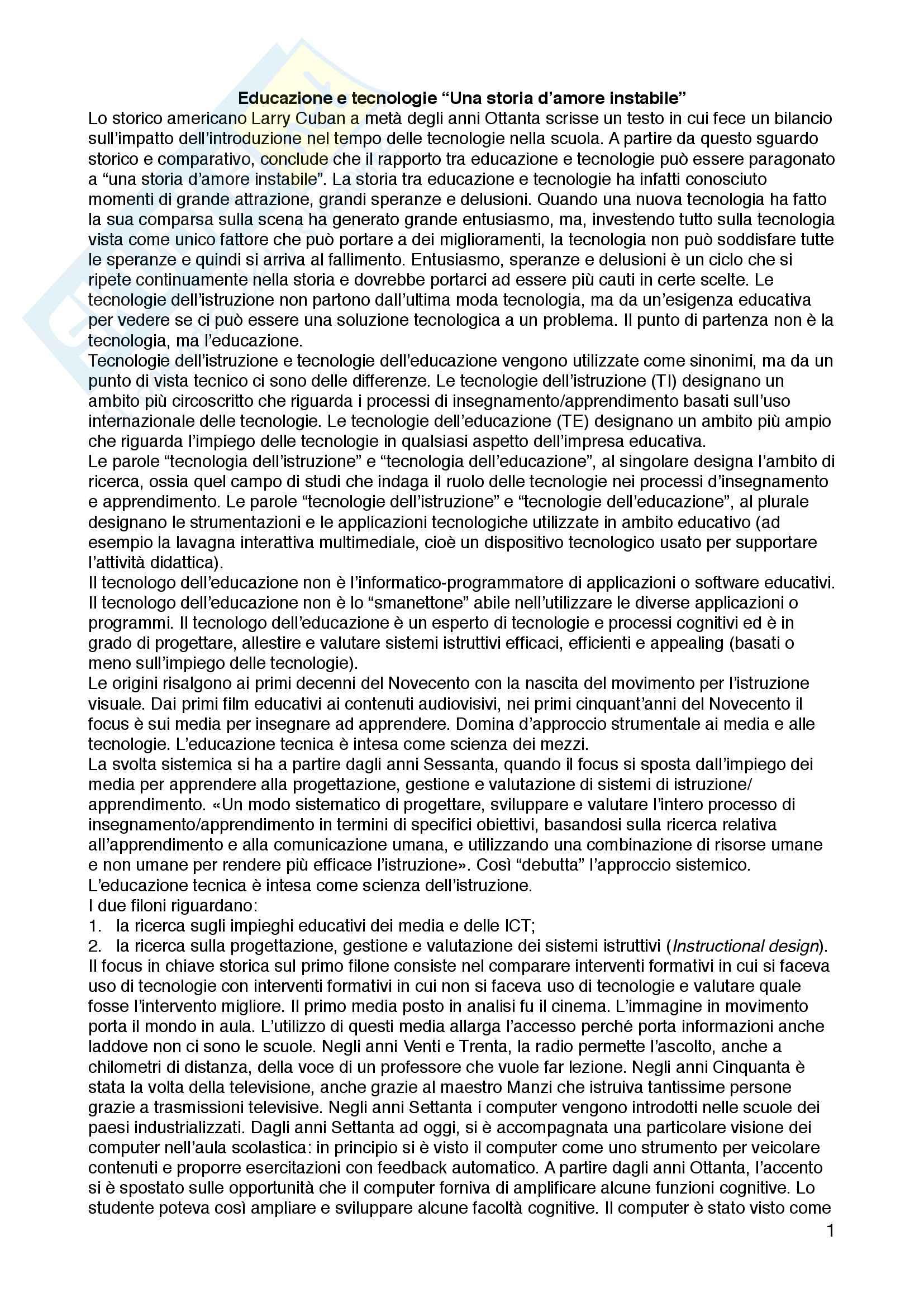 Appunti di tecnologie dell'istruzione e dell'apprendimento, prof.ssa Maria Ranieri