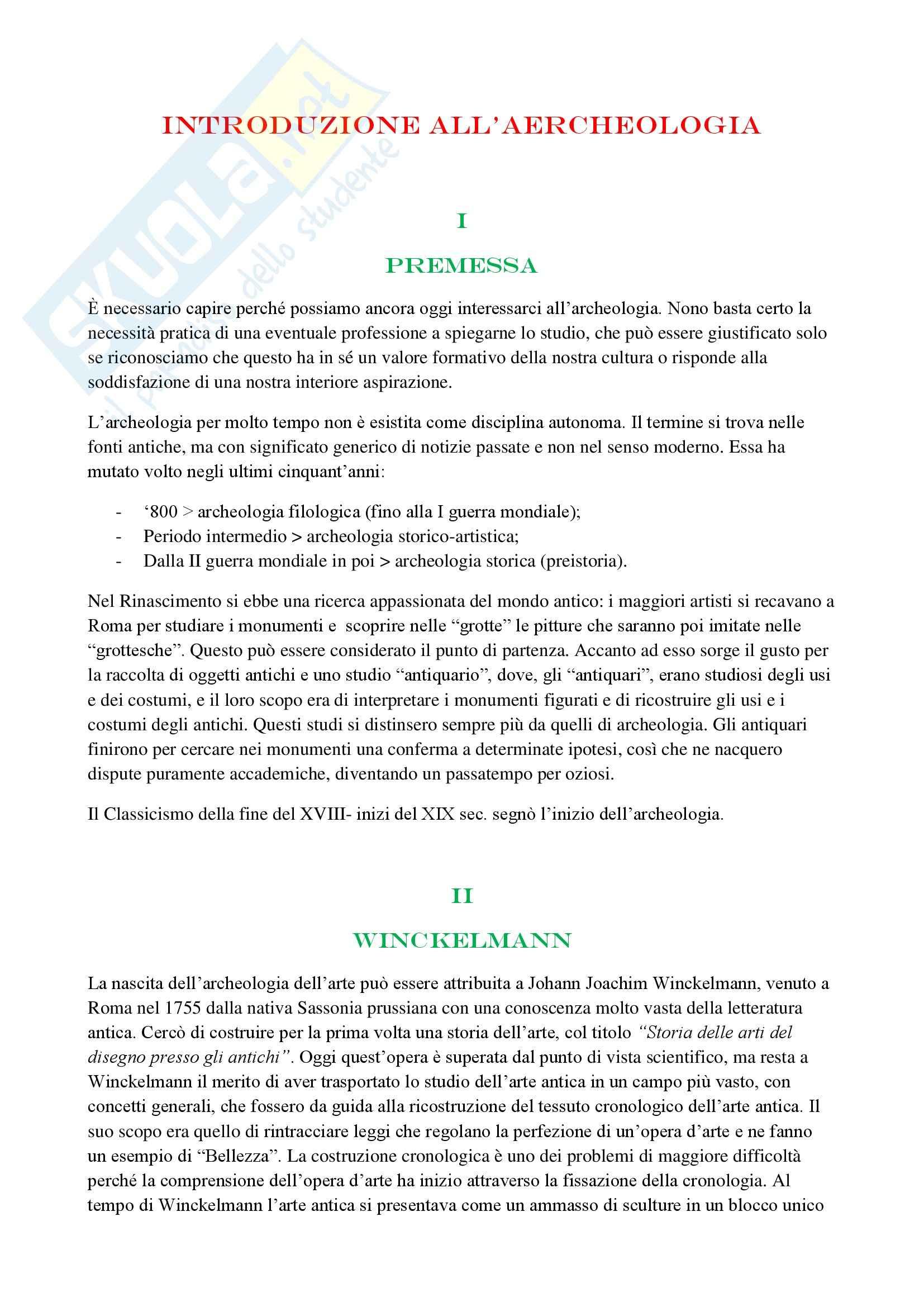 Introduzione all'archeologia, Bandinelli - Riassunto esame