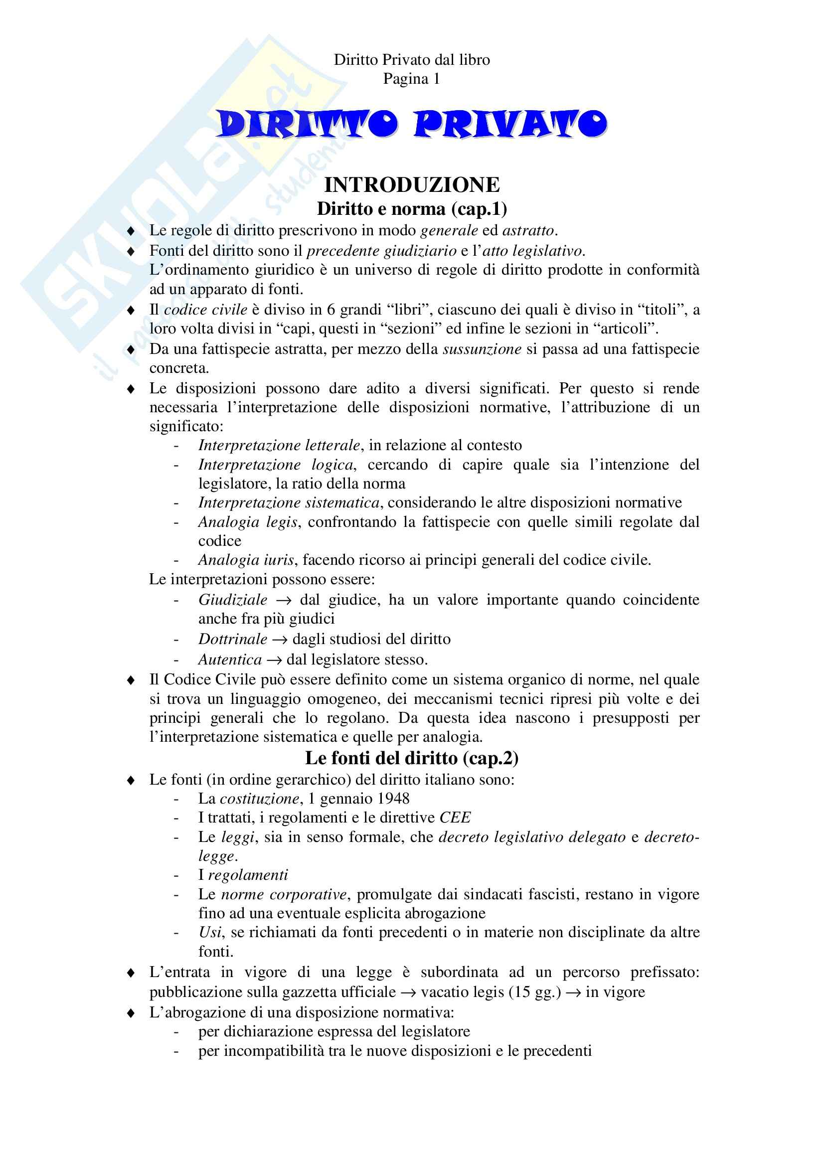 Riassunto esame Diritto Privato, prof. Tagliapietra, libro consigliato Diritto privato, Zatti, Colussi