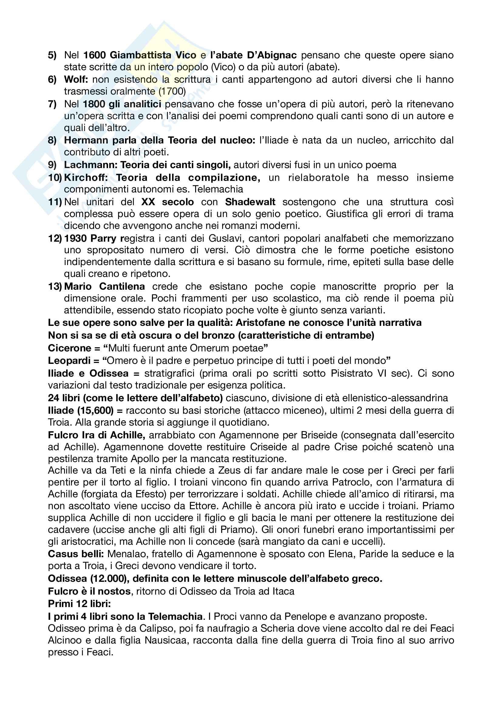 Riassunto esame letteratura greca, prof Andreassi, libro consigliato Letteratura greca Il Mulino, Porro, Lapini Pag. 2