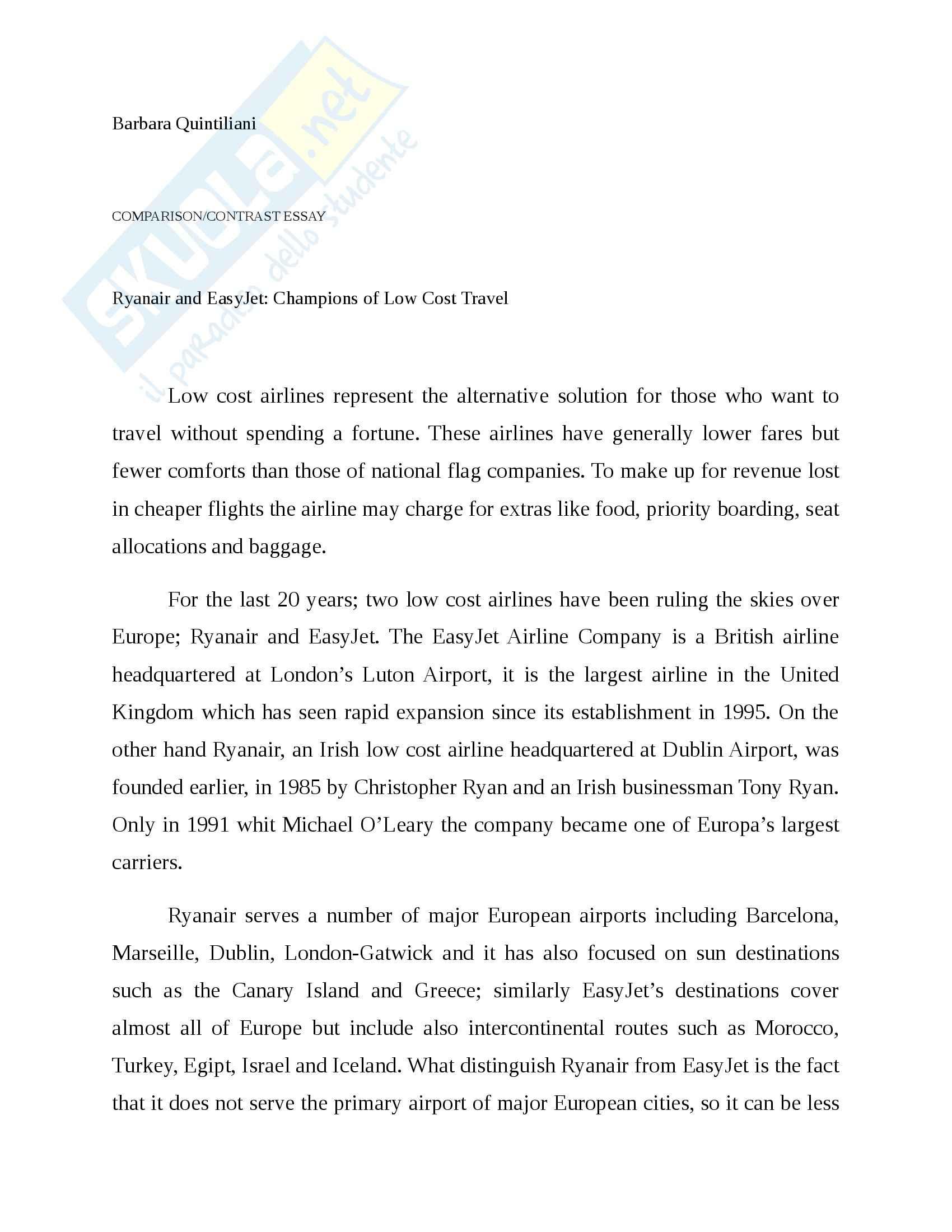 Ryanair and Easyjet Essay, Lingua inglese