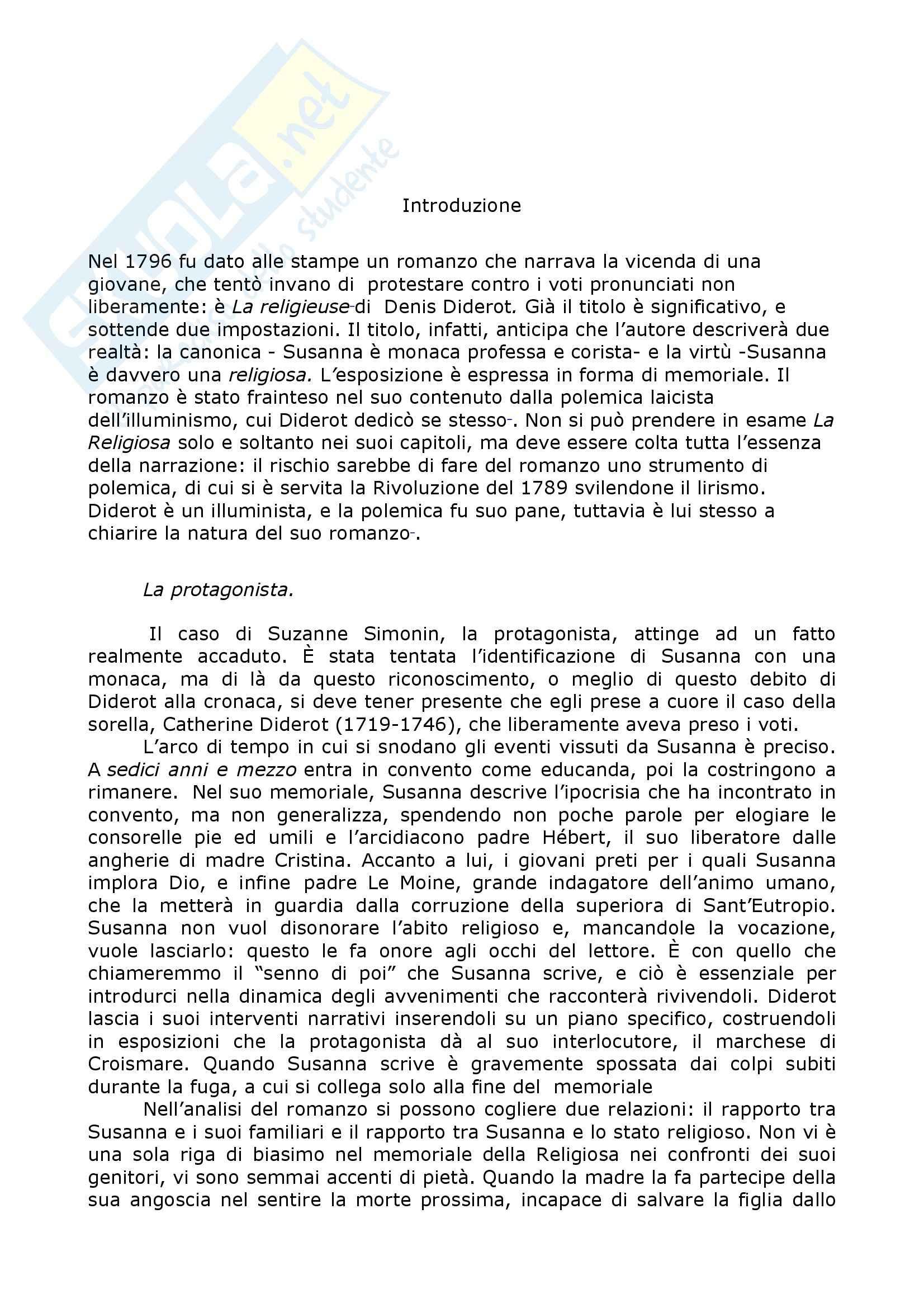 Riassunto esame Letteratura Francese, prof. Caminiti, libro consigliato La Religiosa, Diderot