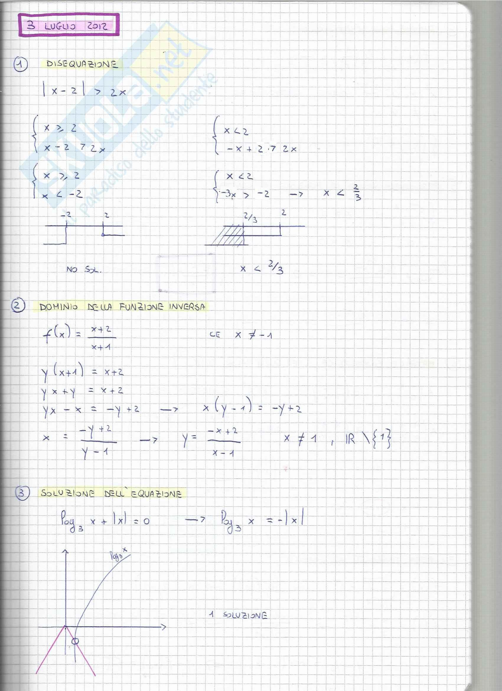 Esercizi, Matematica generale