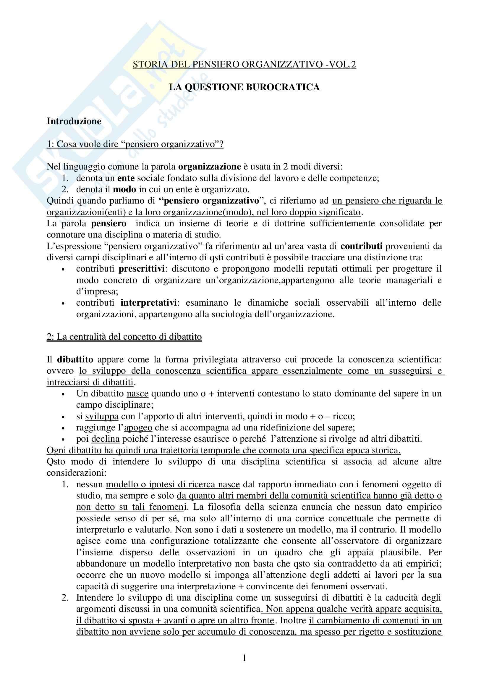 Riassunto esame Sociologia dell'Organizzazione, prof. Di Federico, libro consigliato Storia del Pensiero Organizzativo, Bonazzi
