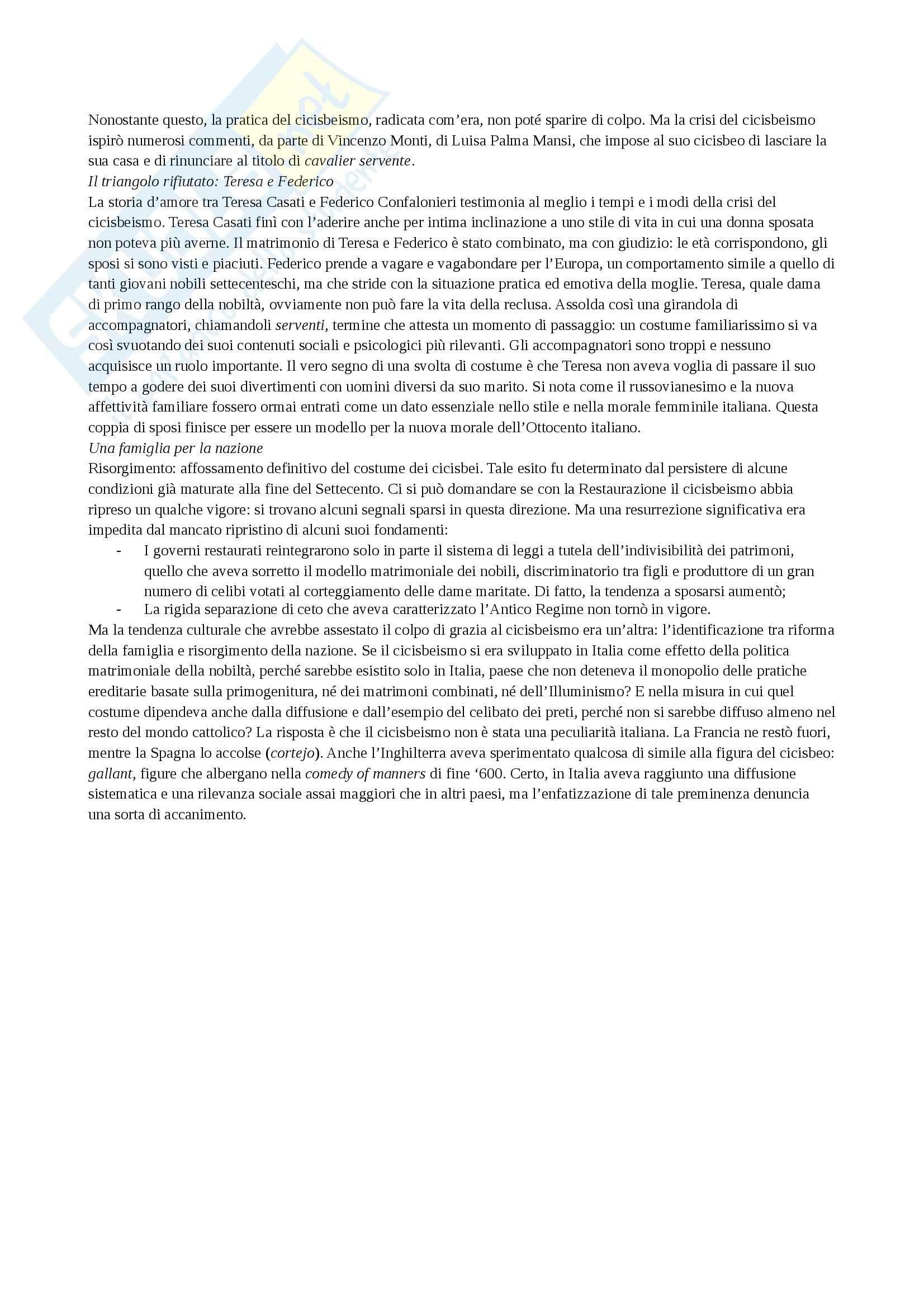Riassunto esame Storia culturale dell'età moderna, prof. Levati, libro consigliato Cicisbei. Morale privata e identità nazionale in Italia, Bizzocchi Pag. 11