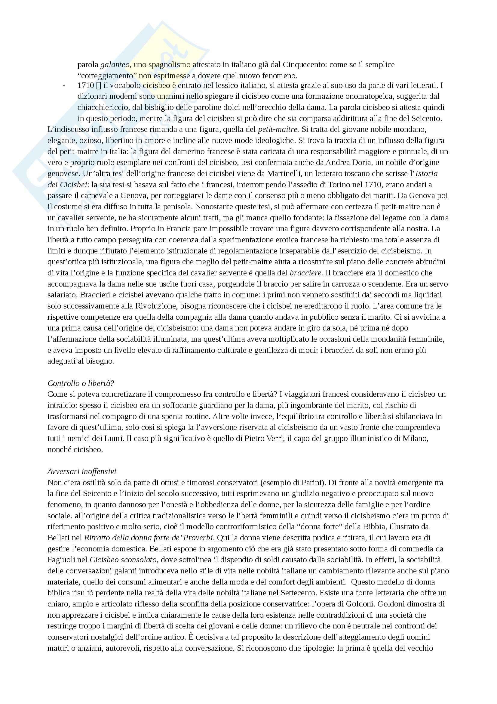 Riassunto esame Storia culturale dell'età moderna, prof. Levati, libro consigliato Cicisbei. Morale privata e identità nazionale in Italia, Bizzocchi Pag. 2