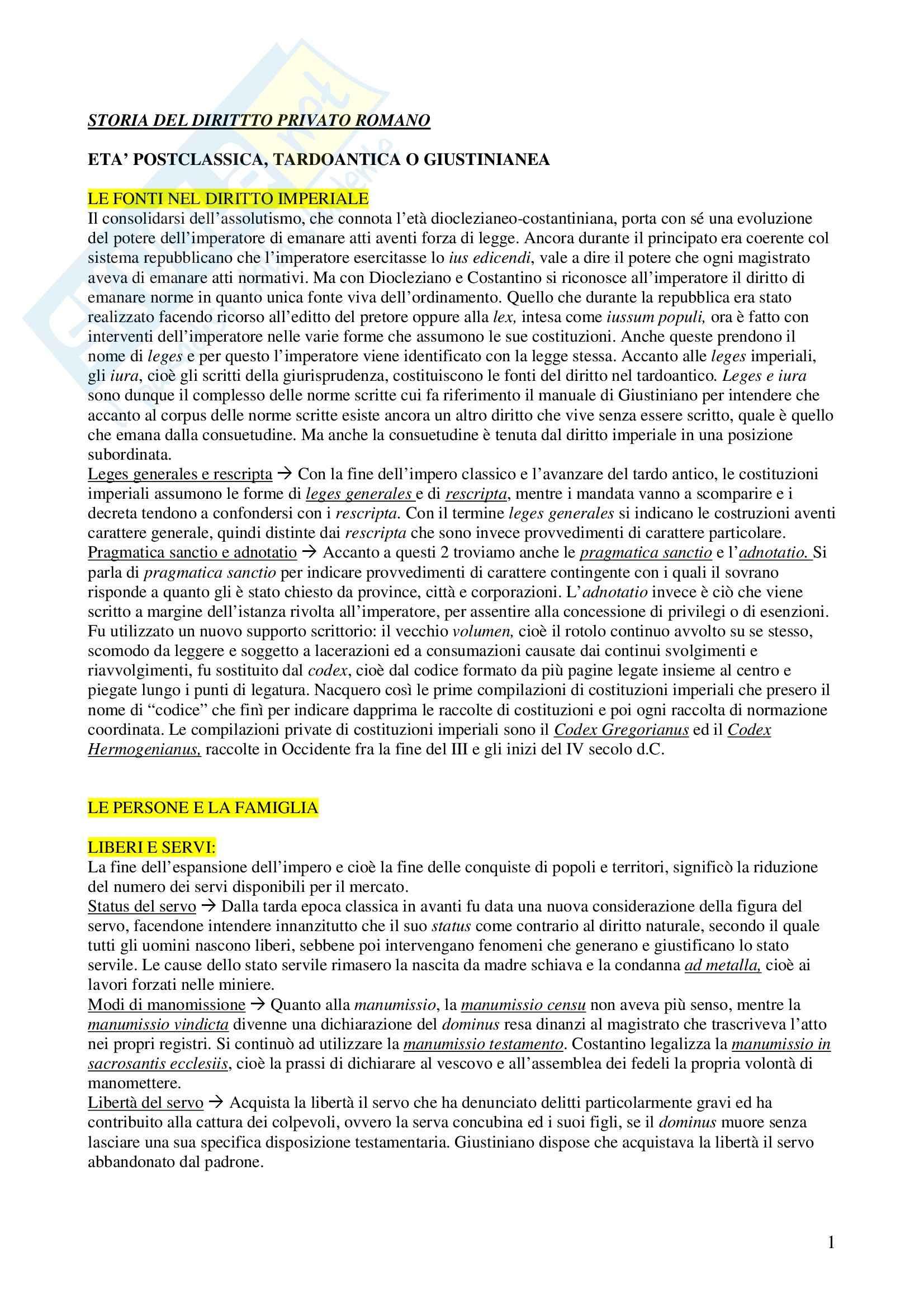 Storia del diritto privato romano - Appunti