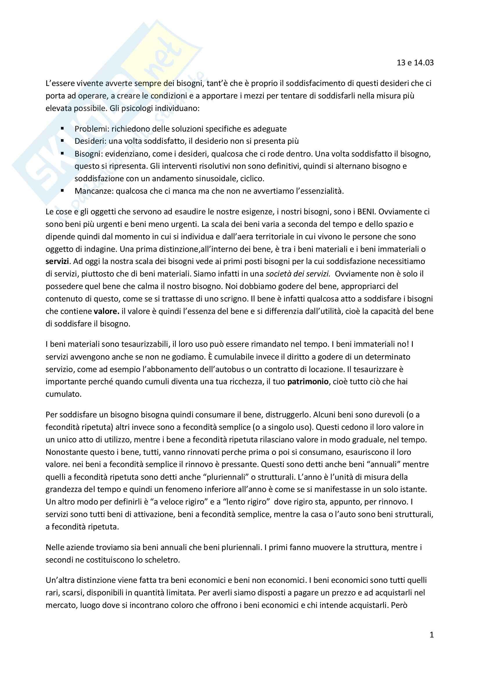 Economia aziendale - Appunti