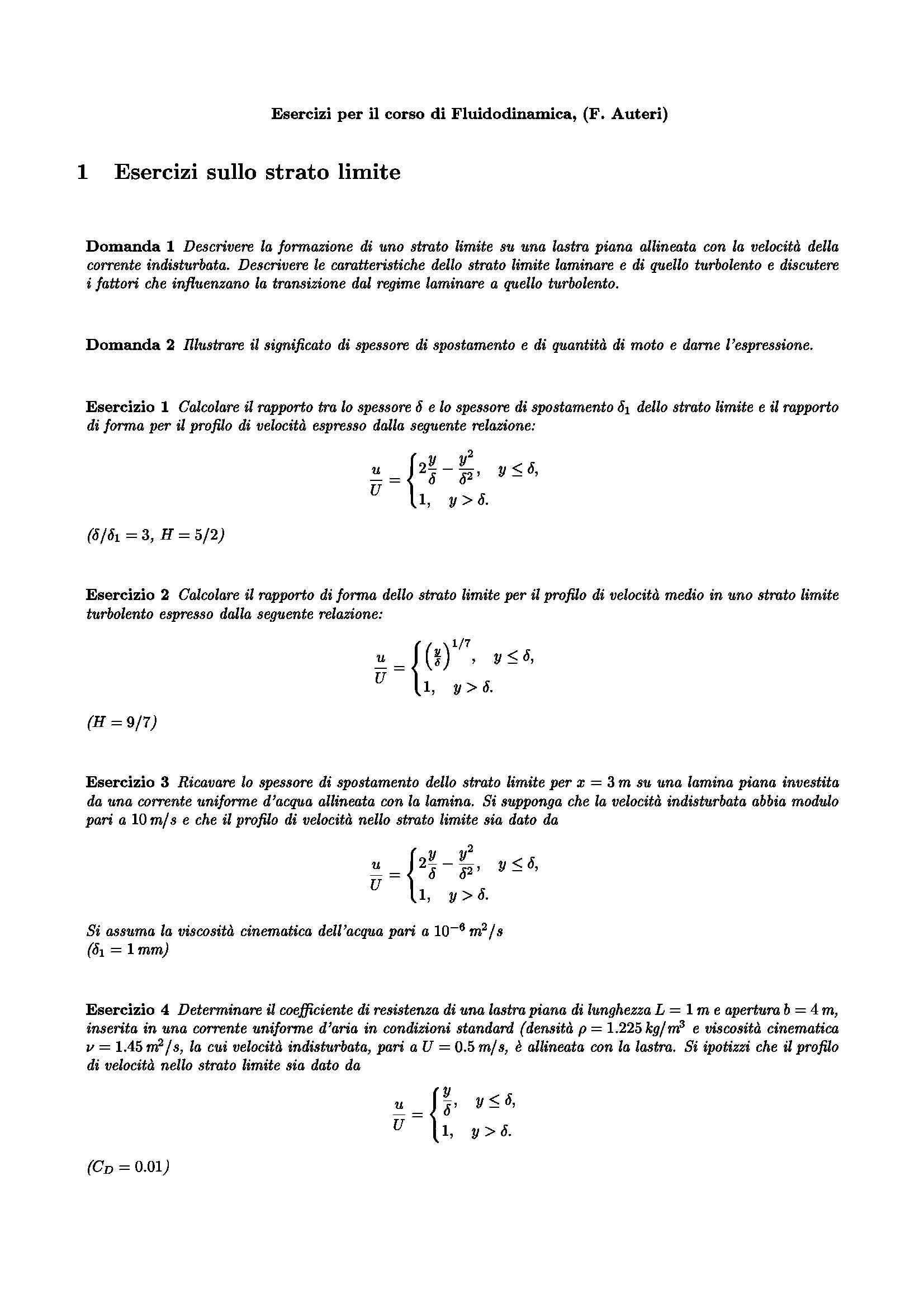 Esercizi fluidodinamica - Strato limite