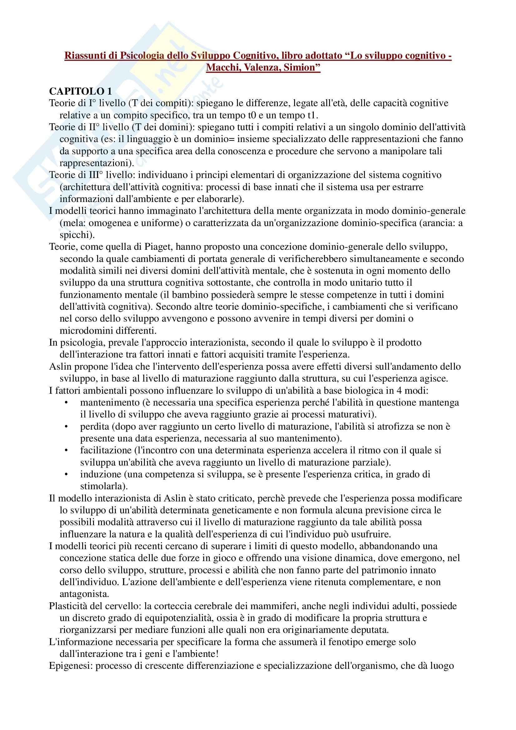 Riassunto esame Psicologia dello Sviluppo Cognitivo, prof. Valenza, libro consigliato Lo sviluppo cognitivo, Macchi, Valenza, Simion