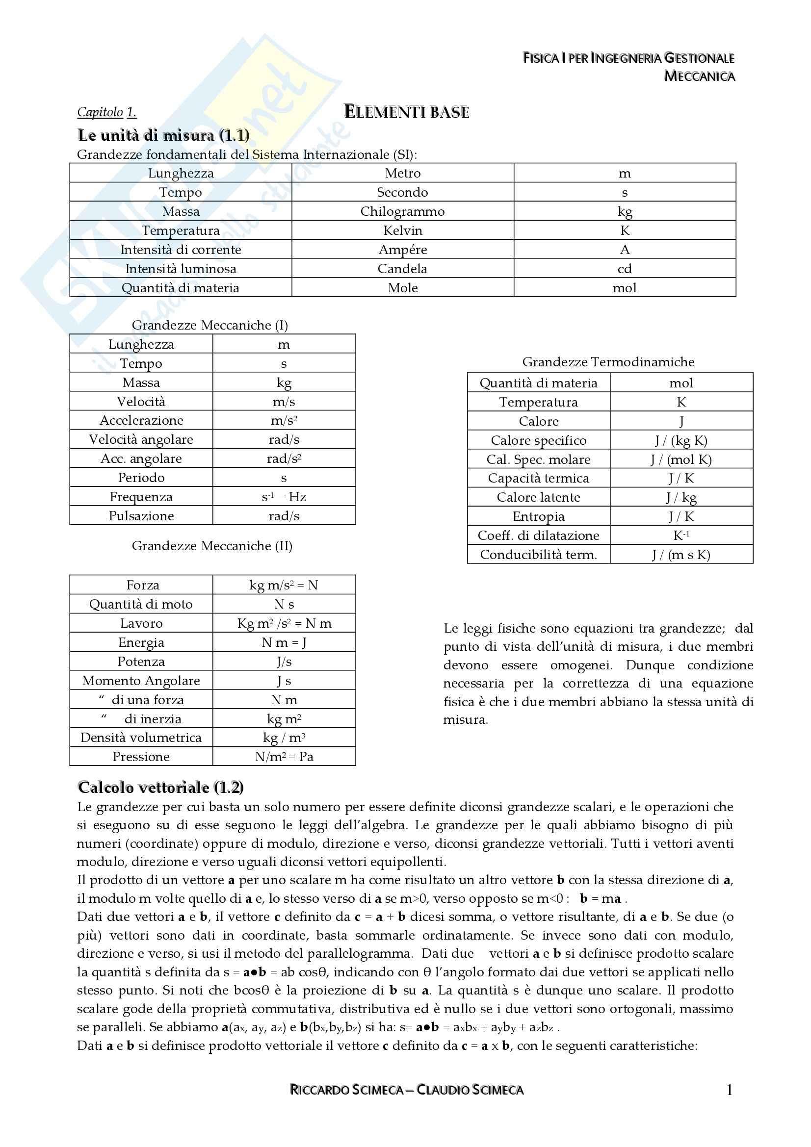 Riassunto esame Fisica I, prof. Raso, libro consigliato Elementi di Fisica I, Mazzoldi, Nigro, Voci