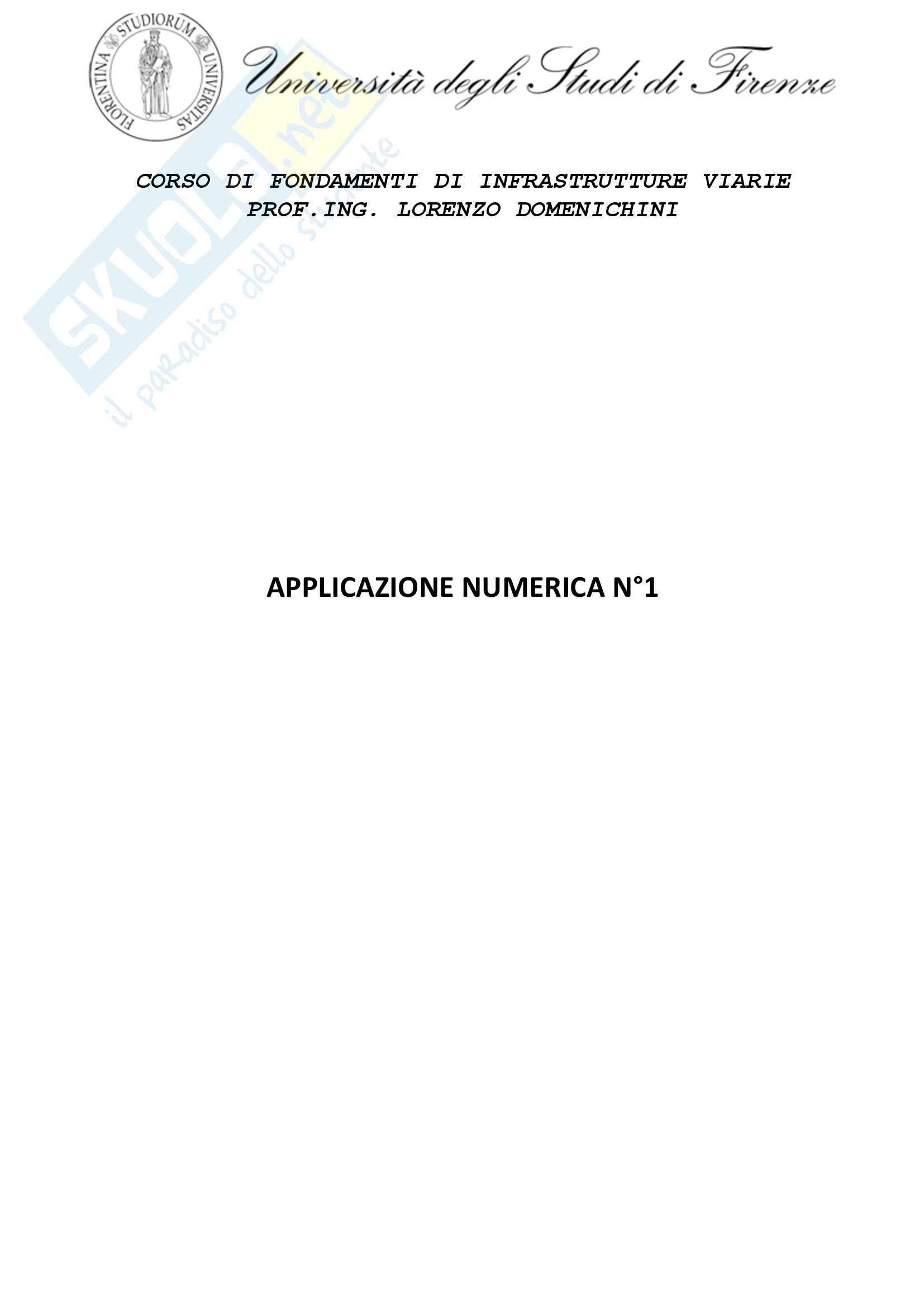 Applicazione numerica 1, Fondamenti di Infrastrutture viarie