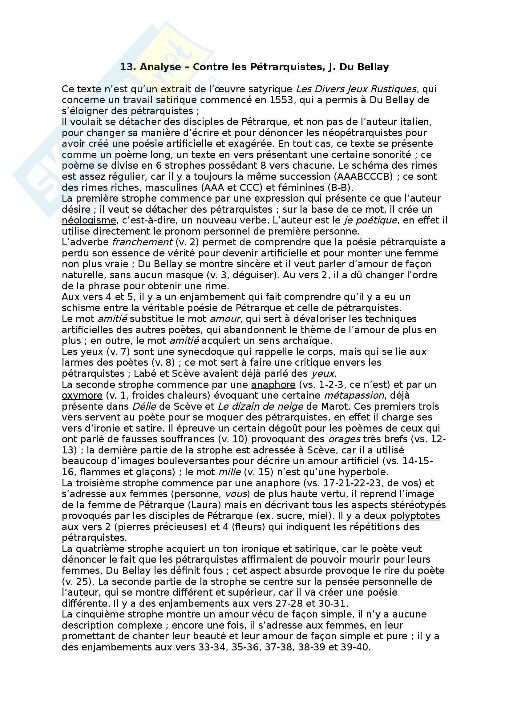 13. Analyse - Contre les Pétrarquistes, J. Du Bellay