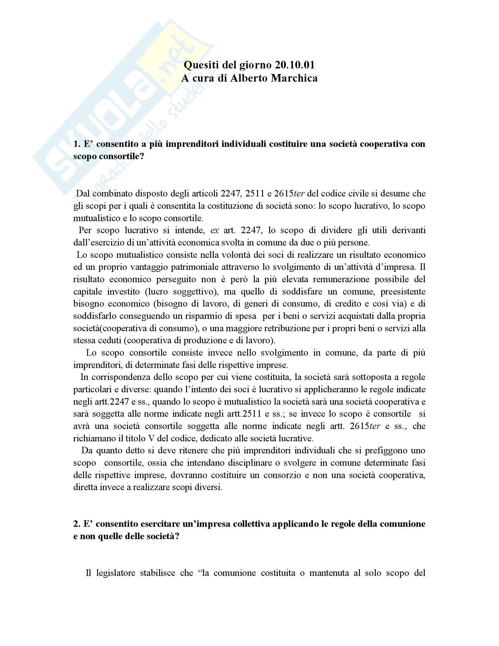 Diritto Commerciale  - Domande e risposte d'esame