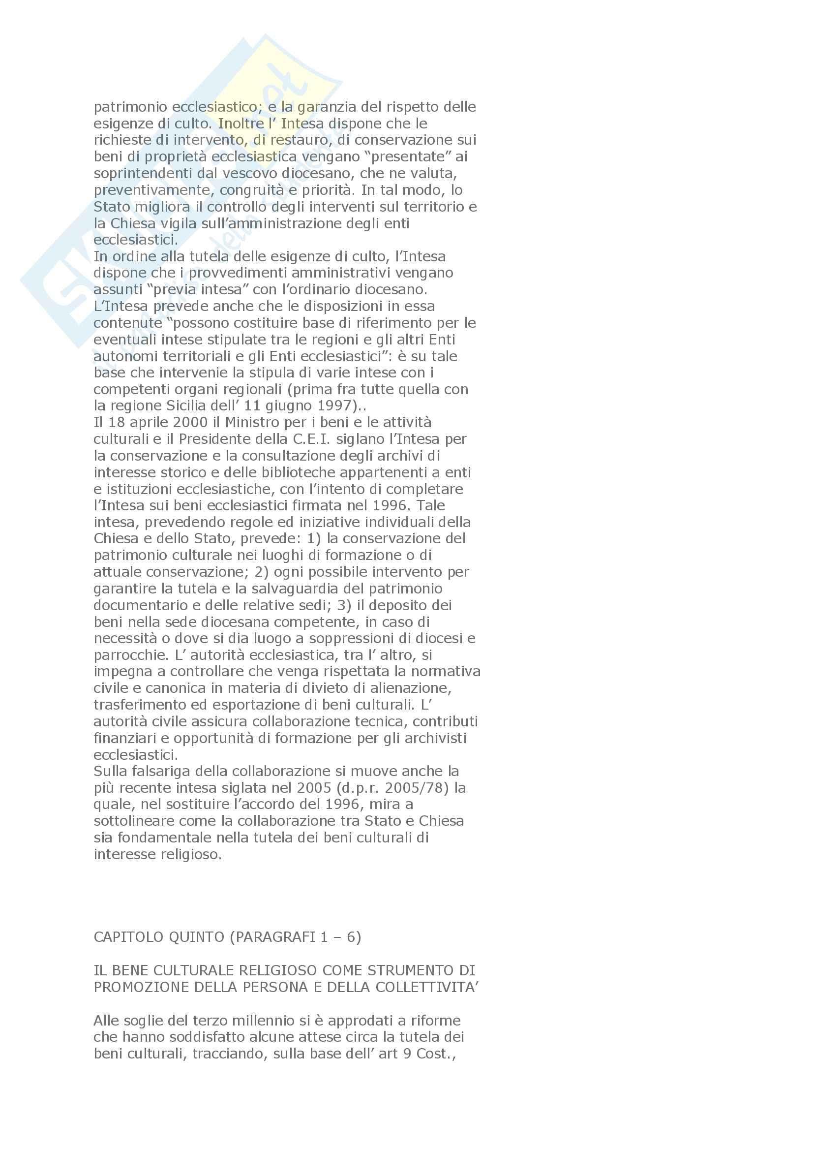Riassunto esame Diritto ecclesiastico, prof. Petroncelli, libro consigliato I beni culturali religiosi quali prospettive di tutela, Hubler Pag. 21