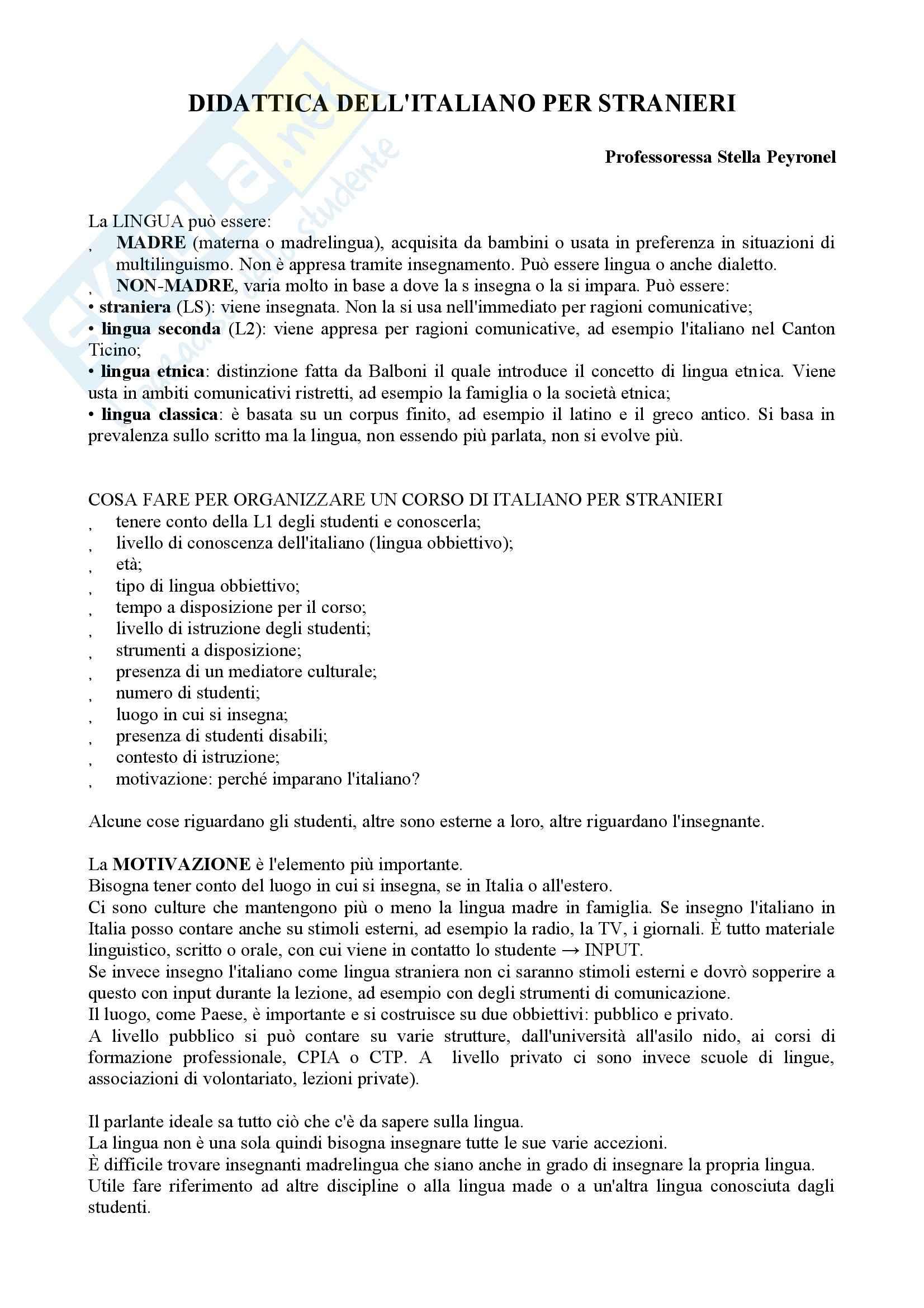 Didattica dell italiano per stranieri - Appunti